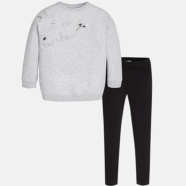 Комплект: футболка с длинным рукавом и леггинсы для девочки MayoralКомплекты<br>Характеристики товара:<br><br>• цвет: серый<br>• комплектация: лонгслив и леггинсы <br>• состав ткани: 58% хлопок, 39% полиэстер, 3% эластан<br>• сезон: демисезон<br>• пояс леггинсов: резинка<br>• длинные рукава<br>• страна бренда: Испания<br>• страна изготовитель: Китай<br><br>Этот детский комплект из лонгслива и леггинсов - это две стильные вещи, которые отлично сочетаются с другими предметами одежды. Комплект для детей поможет обеспечить ребенку тепло и комфорт. Лонгслив для девочки Mayoral - с оригинальной аппликацией. <br><br>Комплект: лонгслив и леггинсы Mayoral (Майорал) для девочки можно купить в нашем интернет-магазине.<br>Ширина мм: 123; Глубина мм: 10; Высота мм: 149; Вес г: 209; Цвет: черный/серый; Возраст от месяцев: 96; Возраст до месяцев: 108; Пол: Женский; Возраст: Детский; Размер: 128/134,170,164,158,152,140; SKU: 6922361;