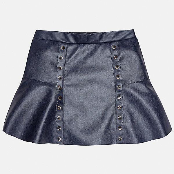 Юбка Mayoral для девочкиЮбки<br>Характеристики товара:<br><br>• цвет: синий<br>• состав ткани: 100% полиуретан, подкладка - 100% хлопок<br>• сезон: круглый год<br>• металлические клепки<br>• страна бренда: Испания<br>• страна изготовитель: Индия<br><br>Эта юбка отличается интересным фасоном и отделкой. Оригинальная юбка от бренда Майорал поможет девочке выглядеть женственно и стильно. <br><br>Для производства детской одежды популярный бренд Mayoral использует только качественную фурнитуру и материалы. Оригинальные и модные вещи от Майорал неизменно привлекают внимание и нравятся детям.<br><br>Юбку для девочки Mayoral (Майорал) можно купить в нашем интернет-магазине.<br><br>Ширина мм: 207<br>Глубина мм: 10<br>Высота мм: 189<br>Вес г: 183<br>Цвет: синий<br>Возраст от месяцев: 96<br>Возраст до месяцев: 108<br>Пол: Женский<br>Возраст: Детский<br>Размер: 128/134,170,164,158,152,140<br>SKU: 6922424