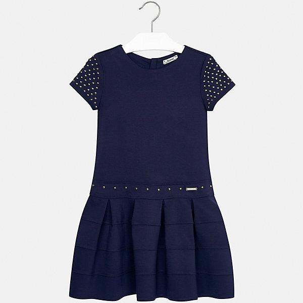 Платье Mayoral для девочкиОдежда<br>Характеристики товара:<br><br>• цвет: синий<br>• состав ткани: 63% вискоза, 32% полиамид, 5% эластан<br>• сезон: круглый год<br>• короткие рукава<br>• стразы<br>• застежка: молния<br>• страна бренда: Испания<br>• страна изготовитель: Индия<br><br>Это платье отличается крупными складками на подоле и расклешенным силуэтом. Детское платье от бренда Майорал поможет девочке выглядеть женственно и стильно. <br><br>Детская одежда от испанской компании Mayoral отличаются оригинальным и всегда стильным дизайном. Качество продукции неизменно очень высокое.<br><br>Платье для девочки Mayoral (Майорал) можно купить в нашем интернет-магазине.<br>Ширина мм: 236; Глубина мм: 16; Высота мм: 184; Вес г: 177; Цвет: синий; Возраст от месяцев: 156; Возраст до месяцев: 168; Пол: Женский; Возраст: Детский; Размер: 164,128/134,140,170,158,152; SKU: 6922459;