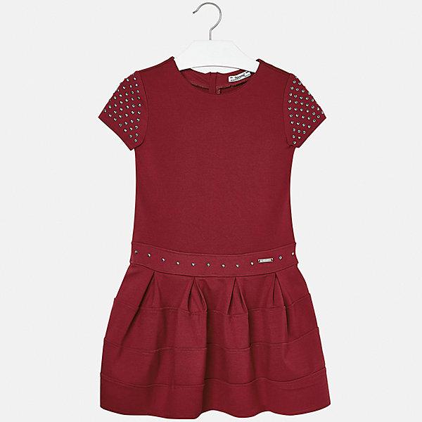 Платье для девочки MayoralПлатья и сарафаны<br>Характеристики товара:<br><br>• цвет: серый<br>• состав ткани: 63% вискоза, 32% полиамид, 5% эластан<br>• сезон: круглый год<br>• короткие рукава<br>• стразы<br>• застежка: молния<br>• страна бренда: Испания<br>• страна изготовитель: Индия<br><br>Красное платье отличается крупными складками и расклешенным силуэтом. Детское эффектное платье от бренда Майорал поможет девочке выглядеть женственно и стильно. <br><br>Детская одежда от испанской компании Mayoral отличаются оригинальным и всегда стильным дизайном. Качество продукции неизменно очень высокое.<br><br>Платье для девочки Mayoral (Майорал) можно купить в нашем интернет-магазине.<br>Ширина мм: 236; Глубина мм: 16; Высота мм: 184; Вес г: 177; Цвет: красный; Возраст от месяцев: 168; Возраст до месяцев: 180; Пол: Женский; Возраст: Детский; Размер: 170,128/134,164,158,152,140; SKU: 6922473;