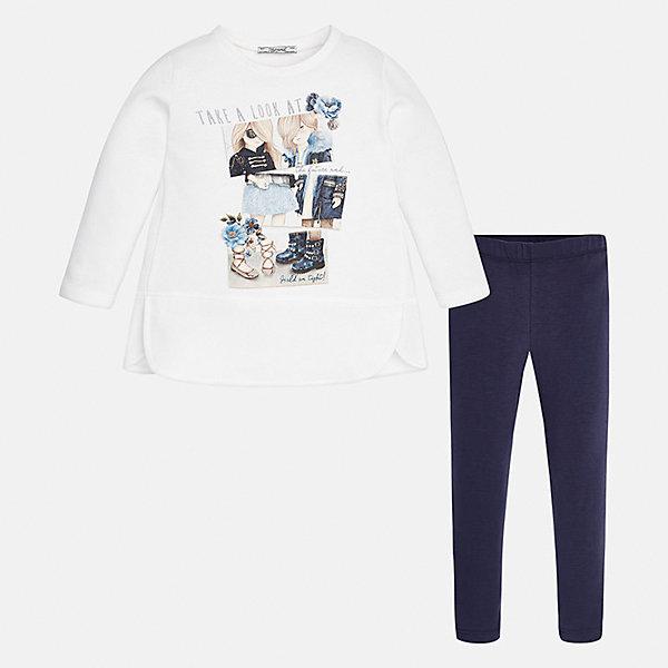 Купить Комплект: блузка и леггинсы для девочки Mayoral, Китай, синий, 92, 98, 134, 128, 122, 116, 110, 104, Женский