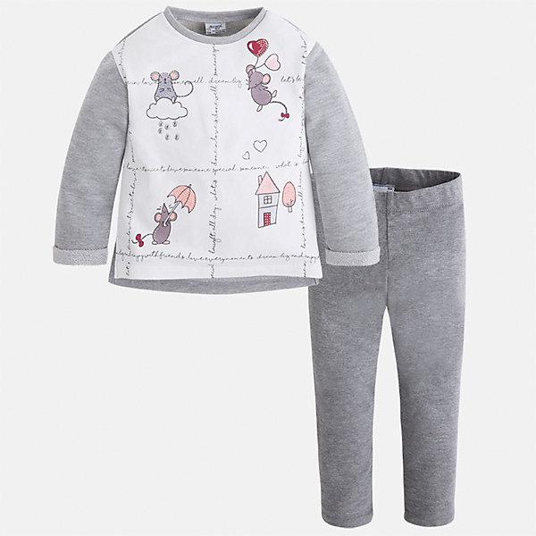 Комплект: футболка с длинным рукавом и леггинсы Mayoral для девочкиКомплекты<br>Характеристики товара:<br><br>• цвет: серый<br>• комплектация: футболка с длинным рукавом и леггинсы<br>• состав ткани леггинсов: 50% хлопок, 38% полиэстер, 9% металлизированное волокно, 3% эластан<br>• состав ткани футболки с длинным рукавом: 57% хлопок, 38% полиэстер, 5% эластан<br>• длинные рукава<br>• пояс: резинка<br>• сезон: круглый год<br>• страна бренда: Испания<br>• страна изготовитель: Индия<br><br>Мягкая футболка с длинным рукавом с принтом отлично сочетается с однотонными трикотажными леггинсами. Стильный детский комплект от известного испанского бренда Mayoral позволит обеспечить ребенку комфорт. <br><br>В одежде от испанской компании Майорал ребенок будет выглядеть модно, а чувствовать себя - комфортно. Целая команда европейских талантливых дизайнеров работает над созданием стильных и оригинальных моделей одежды.<br><br>Комплект: футболка с длинным рукавом и леггинсы для девочки Mayoral (Майорал) можно купить в нашем интернет-магазине.<br>Ширина мм: 123; Глубина мм: 10; Высота мм: 149; Вес г: 209; Цвет: серый; Возраст от месяцев: 18; Возраст до месяцев: 24; Пол: Женский; Возраст: Детский; Размер: 92,134,128,122,116,110,104,98; SKU: 6922670;