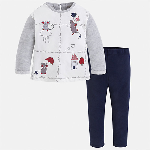 Комплект: футболка с длинным рукавом и леггинсы Mayoral для девочкиБлузки и рубашки<br>Характеристики товара:<br><br>• цвет: белый<br>• комплектация: футболка с длинным рукавом и леггинсы<br>• состав ткани леггинсов: 50% хлопок, 38% полиэстер, 9% металлизированное волокно, 3% эластан<br>• состав ткани футболки с длинным рукавом: 57% хлопок, 38% полиэстер, 5% эластан<br>• длинные рукава<br>• пояс: резинка<br>• сезон: круглый год<br>• страна бренда: Испания<br>• страна изготовитель: Индия<br><br>Детский комплект от известного испанского бренда Mayoral состоит из футболки с принтом и однотонных эластичных леггинсов. Комплект для девочки - удобный и дышащий.<br><br>Детская одежда от испанской компании Mayoral отличаются оригинальным и всегда стильным дизайном. Качество продукции неизменно очень высокое.<br><br>Комплект: футболка с длинным рукавом и леггинсы для девочки Mayoral (Майорал) можно купить в нашем интернет-магазине.<br><br>Ширина мм: 123<br>Глубина мм: 10<br>Высота мм: 149<br>Вес г: 209<br>Цвет: синий<br>Возраст от месяцев: 18<br>Возраст до месяцев: 24<br>Пол: Женский<br>Возраст: Детский<br>Размер: 92,134,128,122,116,110,104,98<br>SKU: 6922688