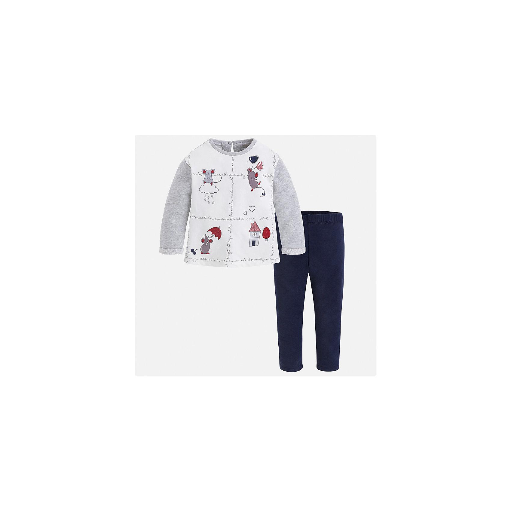 Комплект: футболка с длинным рукавом и леггинсы Mayoral для девочкиБлузки и рубашки<br>Характеристики товара:<br><br>• цвет: белый<br>• комплектация: футболка с длинным рукавом и леггинсы<br>• состав ткани леггинсов: 50% хлопок, 38% полиэстер, 9% металлизированное волокно, 3% эластан<br>• состав ткани футболки с длинным рукавом: 57% хлопок, 38% полиэстер, 5% эластан<br>• длинные рукава<br>• пояс: резинка<br>• сезон: круглый год<br>• страна бренда: Испания<br>• страна изготовитель: Индия<br><br>Детский комплект от известного испанского бренда Mayoral состоит из футболки с принтом и однотонных эластичных леггинсов. Комплект для девочки - удобный и дышащий.<br><br>Детская одежда от испанской компании Mayoral отличаются оригинальным и всегда стильным дизайном. Качество продукции неизменно очень высокое.<br><br>Комплект: футболка с длинным рукавом и леггинсы для девочки Mayoral (Майорал) можно купить в нашем интернет-магазине.<br><br>Ширина мм: 123<br>Глубина мм: 10<br>Высота мм: 149<br>Вес г: 209<br>Цвет: белый<br>Возраст от месяцев: 60<br>Возраст до месяцев: 72<br>Пол: Женский<br>Возраст: Детский<br>Размер: 116,122,128,134,92,98,104,110<br>SKU: 6922688