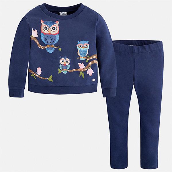 Комплект: блузка и леггинсы Mayoral для девочкиКомплекты<br>Характеристики товара:<br><br>• цвет: синий<br>• комплектация: блузка и леггинсы<br>• состав ткани леггинсов: 95% хлопок, 5% эластан<br>• состав ткани блузки: 95% хлопок, 5% эластан<br>• длинные рукава<br>• пояс: резинка<br>• сезон: круглый год<br>• страна бренда: Испания<br>• страна изготовитель: Индия<br><br>Модный детский комплект от известного бренда Майорал состоит из трикотажной блузки с принтом и эластичных леггинсов. Детская блузка - с имитацией двухслойности.<br><br>Для производства детской одежды популярный бренд Mayoral использует только качественную фурнитуру и материалы. Оригинальные и модные вещи от Майорал неизменно привлекают внимание и нравятся детям.<br><br>Комплект: блузка и леггинсы для девочки Mayoral (Майорал) можно купить в нашем интернет-магазине.<br><br>Ширина мм: 123<br>Глубина мм: 10<br>Высота мм: 149<br>Вес г: 209<br>Цвет: темно-синий<br>Возраст от месяцев: 18<br>Возраст до месяцев: 24<br>Пол: Женский<br>Возраст: Детский<br>Размер: 98,128,122,116,110,104,92,134<br>SKU: 6922697