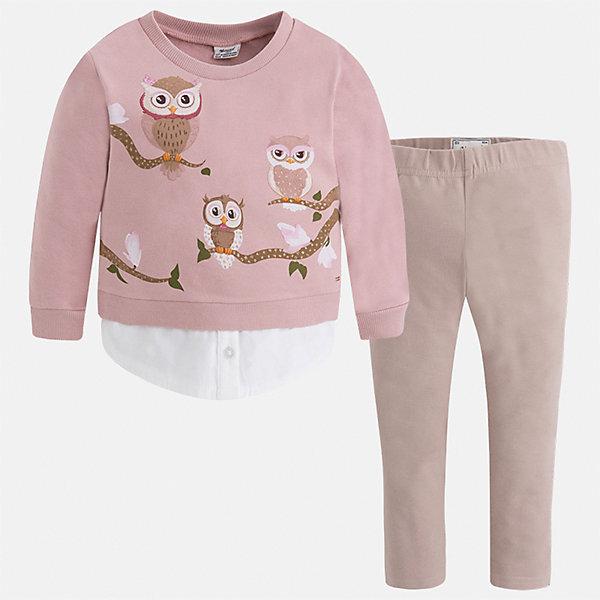 Комплект: футболка с длинным рукавом и леггинсы Mayoral для девочкиКомплекты<br>Характеристики товара:<br><br>• цвет: коричневый<br>• комплектация: блузка и леггинсы<br>• состав ткани леггинсов: 95% хлопок, 5% эластан<br>• состав ткани блузки: 95% хлопок, 5% эластан<br>• длинные рукава<br>• пояс: резинка<br>• сезон: круглый год<br>• страна бренда: Испания<br>• страна изготовитель: Индия<br><br>Коричневый детский комплект от известного испанского бренда Mayoral состоит из модной блузки с принтом и однотонных эластичных леггинсов. Такое сочетание является очень актуальным в наступающем сезоне.<br><br>Детская одежда от испанской компании Mayoral отличаются оригинальным и всегда стильным дизайном. Качество продукции неизменно очень высокое.<br><br>Комплект: блузка и леггинсы для девочки Mayoral (Майорал) можно купить в нашем интернет-магазине.<br><br>Ширина мм: 123<br>Глубина мм: 10<br>Высота мм: 149<br>Вес г: 209<br>Цвет: бежевый/розовый<br>Возраст от месяцев: 18<br>Возраст до месяцев: 24<br>Пол: Женский<br>Возраст: Детский<br>Размер: 92,134,128,122,116,110,104,98<br>SKU: 6922706