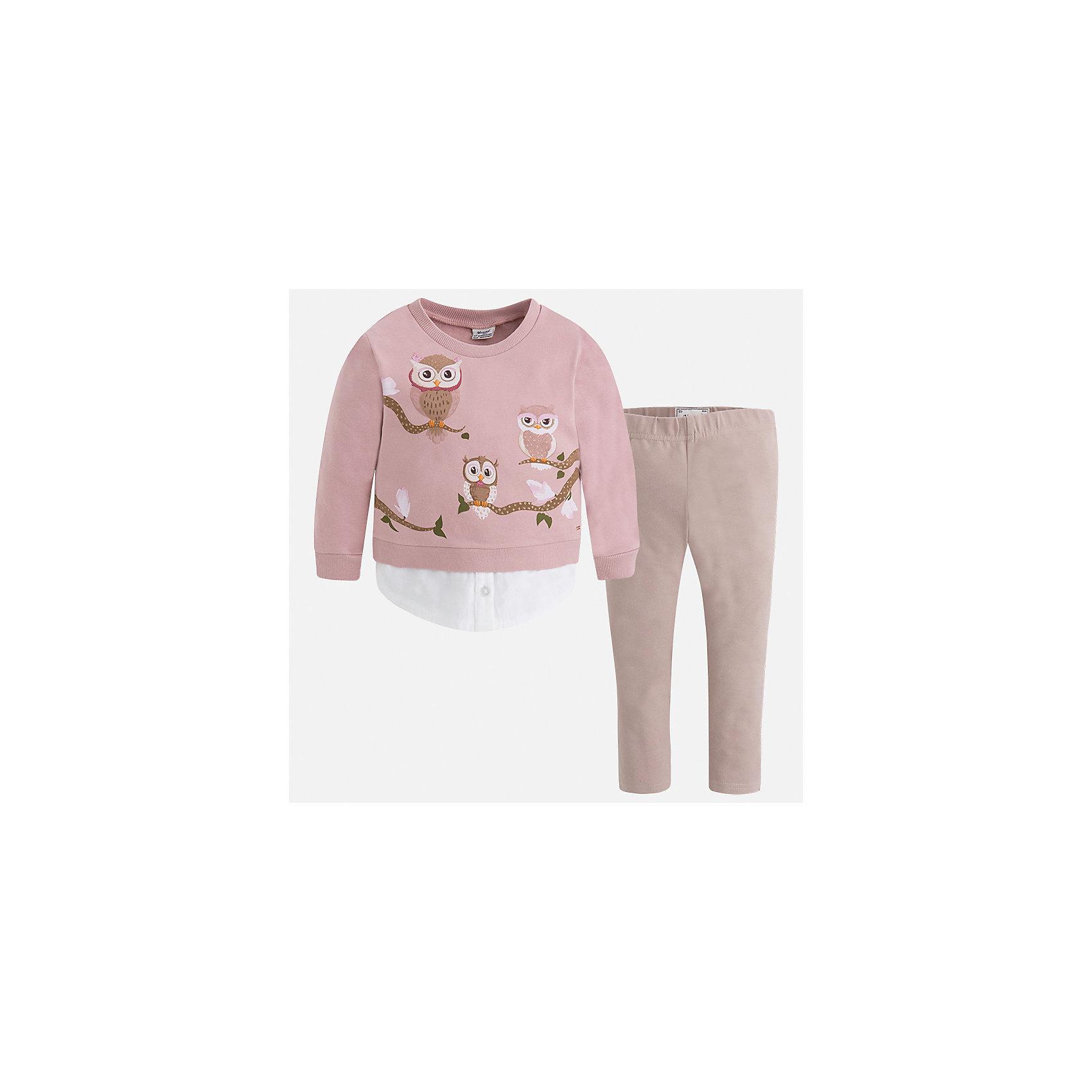 Комплект: футболка с длинным рукавом и леггинсы Mayoral для девочкиКомплекты<br>Характеристики товара:<br><br>• цвет: коричневый<br>• комплектация: блузка и леггинсы<br>• состав ткани леггинсов: 95% хлопок, 5% эластан<br>• состав ткани блузки: 95% хлопок, 5% эластан<br>• длинные рукава<br>• пояс: резинка<br>• сезон: круглый год<br>• страна бренда: Испания<br>• страна изготовитель: Индия<br><br>Коричневый детский комплект от известного испанского бренда Mayoral состоит из модной блузки с принтом и однотонных эластичных леггинсов. Такое сочетание является очень актуальным в наступающем сезоне.<br><br>Детская одежда от испанской компании Mayoral отличаются оригинальным и всегда стильным дизайном. Качество продукции неизменно очень высокое.<br><br>Комплект: блузка и леггинсы для девочки Mayoral (Майорал) можно купить в нашем интернет-магазине.<br><br>Ширина мм: 123<br>Глубина мм: 10<br>Высота мм: 149<br>Вес г: 209<br>Цвет: коричневый<br>Возраст от месяцев: 96<br>Возраст до месяцев: 108<br>Пол: Женский<br>Возраст: Детский<br>Размер: 134,92,98,104,110,116,122,128<br>SKU: 6922706