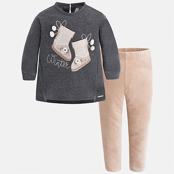 Комплект: футболка с длинным рукавом и леггинсы Mayoral для девочкиКомплекты<br>Характеристики товара:<br><br>• цвет: серый<br>• комплектация: блузка и леггинсы<br>• состав ткани леггинсов: 55% хлопок, 40% полиэстер, 5% эластан<br>• состав ткани блузки: 60% хлопок, 40% полиэстер<br>• длинные рукава<br>• застежка: пуговица<br>• пояс: резинка<br>• сезон: круглый год<br>• страна бренда: Испания<br>• страна изготовитель: Индия<br><br>Комфортный детский комплект от известного испанского бренда Mayoral состоит из модной блузки с принтом и однотонных эластичных леггинсов. Такое сочетание является очень актуальным в наступающем сезоне.<br><br>Детская одежда от испанской компании Mayoral отличаются оригинальным и всегда стильным дизайном. Качество продукции неизменно очень высокое.<br><br>Комплект: блузка и леггинсы для девочки Mayoral (Майорал) можно купить в нашем интернет-магазине.<br><br>Ширина мм: 123<br>Глубина мм: 10<br>Высота мм: 149<br>Вес г: 209<br>Цвет: серый<br>Возраст от месяцев: 18<br>Возраст до месяцев: 24<br>Пол: Женский<br>Возраст: Детский<br>Размер: 92,134,128,122,116,110,104,98<br>SKU: 6922733