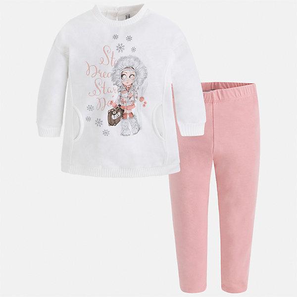 Комплект: футболка с длинным рукавом и леггинсы Mayoral для девочкиКомплекты<br>Характеристики товара:<br><br>• цвет: розовый<br>• комплектация: блузка и леггинсы<br>• состав ткани леггинсов: 57% хлопок, 38% полиэстер, 5% эластан<br>• состав ткани блузки: 45% хлопок, 42% полиэстер, 13% металлизированное волокно<br>• длинные рукава<br>• застежка: пуговица<br>• стразы<br>• пояс: резинка<br>• сезон: круглый год<br>• страна бренда: Испания<br>• страна изготовитель: Индия<br><br>Такой симпатичный комплект поможет подарить ребенку комфорт. Детский комплект от известного бренда Майорал состоит из мягкой блузки с принтом и эластичных леггинсов. <br><br>Для производства детской одежды популярный бренд Mayoral использует только качественную фурнитуру и материалы. Оригинальные и модные вещи от Майорал неизменно привлекают внимание и нравятся детям.<br><br>Комплект: блузка и леггинсы для девочки Mayoral (Майорал) можно купить в нашем интернет-магазине.<br><br>Ширина мм: 123<br>Глубина мм: 10<br>Высота мм: 149<br>Вес г: 209<br>Цвет: розовый<br>Возраст от месяцев: 18<br>Возраст до месяцев: 24<br>Пол: Женский<br>Возраст: Детский<br>Размер: 92,134,128,122,116,110,104,98<br>SKU: 6922778