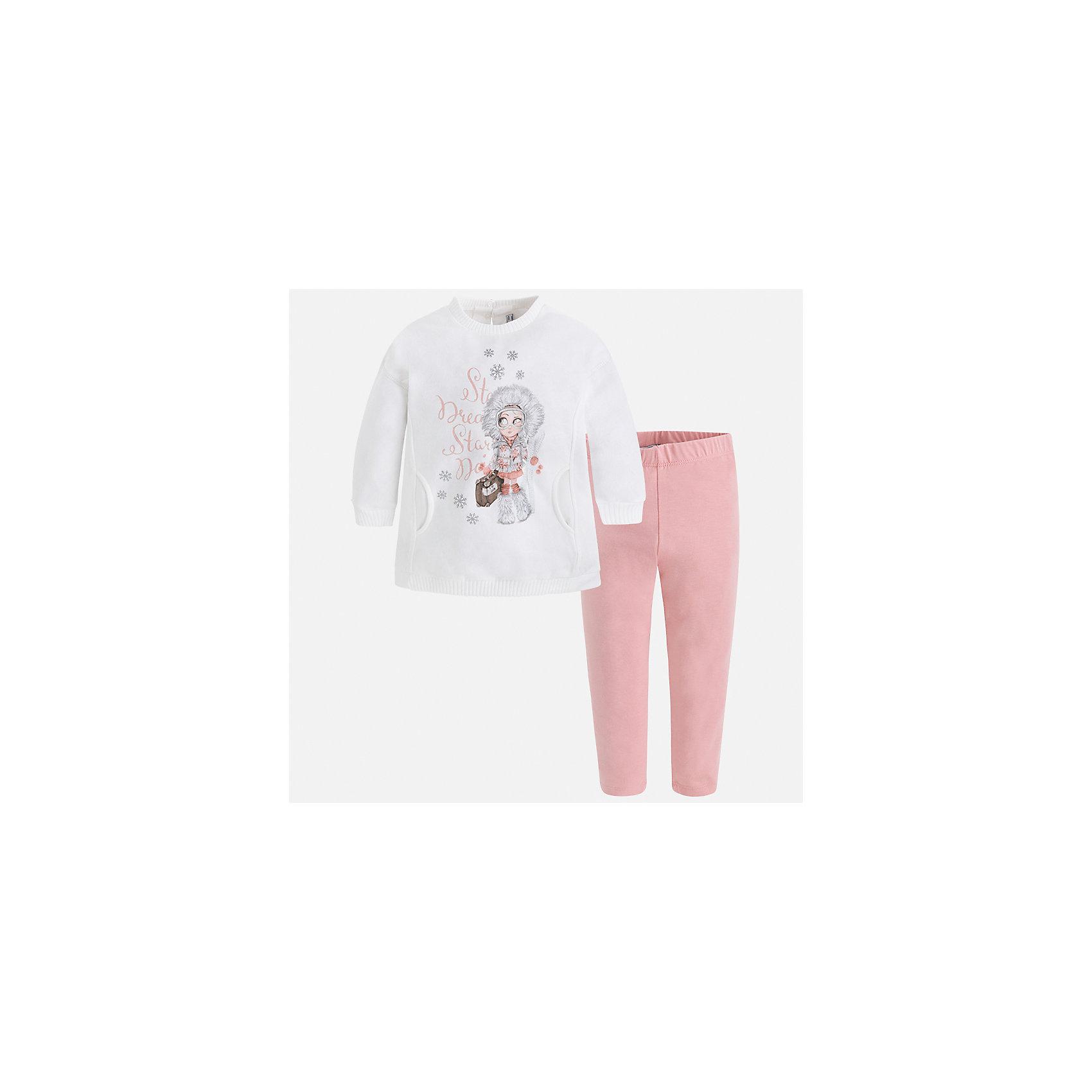Комплект: футболка с длинным рукавом и леггинсы Mayoral для девочкиБлузки и рубашки<br>Характеристики товара:<br><br>• цвет: розовый<br>• комплектация: блузка и леггинсы<br>• состав ткани леггинсов: 57% хлопок, 38% полиэстер, 5% эластан<br>• состав ткани блузки: 45% хлопок, 42% полиэстер, 13% металлизированное волокно<br>• длинные рукава<br>• застежка: пуговица<br>• стразы<br>• пояс: резинка<br>• сезон: круглый год<br>• страна бренда: Испания<br>• страна изготовитель: Индия<br><br>Такой симпатичный комплект поможет подарить ребенку комфорт. Детский комплект от известного бренда Майорал состоит из мягкой блузки с принтом и эластичных леггинсов. <br><br>Для производства детской одежды популярный бренд Mayoral использует только качественную фурнитуру и материалы. Оригинальные и модные вещи от Майорал неизменно привлекают внимание и нравятся детям.<br><br>Комплект: блузка и леггинсы для девочки Mayoral (Майорал) можно купить в нашем интернет-магазине.<br><br>Ширина мм: 123<br>Глубина мм: 10<br>Высота мм: 149<br>Вес г: 209<br>Цвет: розовый<br>Возраст от месяцев: 18<br>Возраст до месяцев: 24<br>Пол: Женский<br>Возраст: Детский<br>Размер: 92,98,104,110,116,122,128,134<br>SKU: 6922778