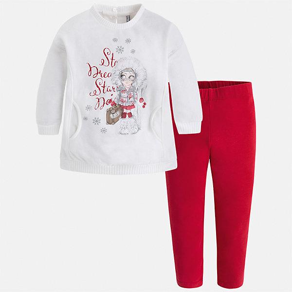 Комплект: футболка с длинным рукавом и леггинсы Mayoral для девочкиКомплекты<br>Характеристики товара:<br><br>• цвет: красный<br>• комплектация: блузка и леггинсы<br>• состав ткани леггинсов: 57% хлопок, 38% полиэстер, 5% эластан<br>• состав ткани блузки: 45% хлопок, 42% полиэстер, 13% металлизированное волокно<br>• длинные рукава<br>• застежка: пуговица<br>• стразы<br>• пояс: резинка<br>• сезон: круглый год<br>• страна бренда: Испания<br>• страна изготовитель: Индия<br><br>Модный и удобный детский комплект от известного испанского бренда Mayoral - это блузка с принтом и однотонные эластичные леггинсы. Такое сочетание является очень актуальным в наступающем сезоне.<br><br>Детская одежда от испанской компании Mayoral отличаются оригинальным и всегда стильным дизайном. Качество продукции неизменно очень высокое.<br><br>Комплект: блузка и леггинсы для девочки Mayoral (Майорал) можно купить в нашем интернет-магазине.<br><br>Ширина мм: 123<br>Глубина мм: 10<br>Высота мм: 149<br>Вес г: 209<br>Цвет: красный<br>Возраст от месяцев: 18<br>Возраст до месяцев: 24<br>Пол: Женский<br>Возраст: Детский<br>Размер: 92,134,128,122,116,110,104,98<br>SKU: 6922787