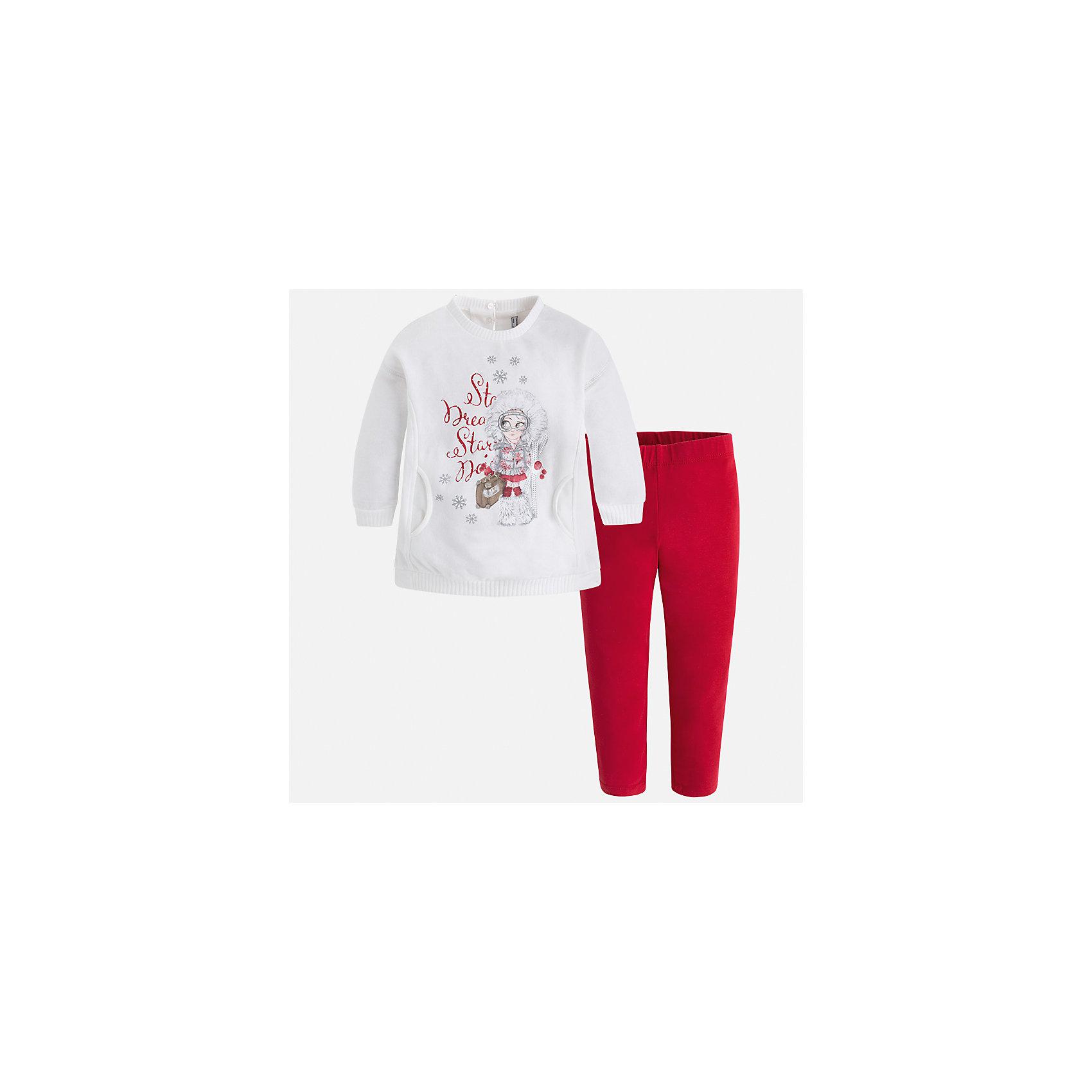 Комплект: футболка с длинным рукавом и леггинсы Mayoral для девочкиБлузки и рубашки<br>Характеристики товара:<br><br>• цвет: красный<br>• комплектация: блузка и леггинсы<br>• состав ткани леггинсов: 57% хлопок, 38% полиэстер, 5% эластан<br>• состав ткани блузки: 45% хлопок, 42% полиэстер, 13% металлизированное волокно<br>• длинные рукава<br>• застежка: пуговица<br>• стразы<br>• пояс: резинка<br>• сезон: круглый год<br>• страна бренда: Испания<br>• страна изготовитель: Индия<br><br>Модный и удобный детский комплект от известного испанского бренда Mayoral - это блузка с принтом и однотонные эластичные леггинсы. Такое сочетание является очень актуальным в наступающем сезоне.<br><br>Детская одежда от испанской компании Mayoral отличаются оригинальным и всегда стильным дизайном. Качество продукции неизменно очень высокое.<br><br>Комплект: блузка и леггинсы для девочки Mayoral (Майорал) можно купить в нашем интернет-магазине.<br><br>Ширина мм: 123<br>Глубина мм: 10<br>Высота мм: 149<br>Вес г: 209<br>Цвет: красный<br>Возраст от месяцев: 96<br>Возраст до месяцев: 108<br>Пол: Женский<br>Возраст: Детский<br>Размер: 134,92,98,104,110,116,122,128<br>SKU: 6922787