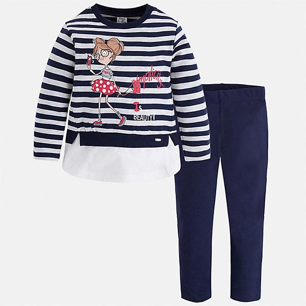 Комплект: футболка с длинным рукавом и леггинсы Mayoral для девочкиКомплекты<br>Характеристики товара:<br><br>• цвет: синий<br>• комплектация: футболка с длинным рукавом и леггинсы<br>• состав ткани леггинсов: 92% хлопок, 8% эластан<br>• состав ткани футболки с длинным рукавом: 75% хлопок, 20% полиэстер, 5% эластан<br>• длинные рукава<br>• пояс: резинка<br>• сезон: круглый год<br>• страна бренда: Испания<br>• страна изготовитель: Индия<br><br>Удобный симпатичный комплект поможет подарить ребенку комфорт. Детский комплект от известного бренда Майорал состоит из мягкой футболка с принтом и эластичных леггинсов. <br><br>Для производства детской одежды популярный бренд Mayoral использует только качественную фурнитуру и материалы. Оригинальные и модные вещи от Майорал неизменно привлекают внимание и нравятся детям.<br><br>Комплект: футболка с длинным рукавом и леггинсы для девочки Mayoral (Майорал) можно купить в нашем интернет-магазине.<br><br>Ширина мм: 123<br>Глубина мм: 10<br>Высота мм: 149<br>Вес г: 209<br>Цвет: темно-синий<br>Возраст от месяцев: 18<br>Возраст до месяцев: 24<br>Пол: Женский<br>Возраст: Детский<br>Размер: 92,134,128,122,116,110,104,98<br>SKU: 6922805