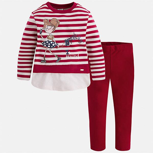 Комплект: футболка с длинным рукавом и леггинсы для девочки MayoralКомплекты<br>Характеристики товара:<br><br>• цвет: красный<br>• комплектация: футболка с длинным рукавом и леггинсы<br>• состав ткани леггинсов: 92% хлопок, 8% эластан<br>• состав ткани футболки с длинным рукавом: 75% хлопок, 20% полиэстер, 5% эластан<br>• длинные рукава<br>• пояс: резинка<br>• сезон: круглый год<br>• страна бренда: Испания<br>• страна изготовитель: Индия<br><br>Футболка с длинным рукавом стильно смотрится благодаря эффекту двухслойности. Модный и удобный детский комплект от известного испанского бренда Mayoral - футболка с длинным рукавом с принтом и однотонные эластичные леггинсы, это сочетание является очень актуальным в наступающем сезоне.<br><br>Детская одежда от испанской компании Mayoral отличаются оригинальным и всегда стильным дизайном. Качество продукции неизменно очень высокое.<br><br>Комплект: футболка с длинным рукавом для девочки Mayoral (Майорал) можно купить в нашем интернет-магазине.<br><br>Ширина мм: 123<br>Глубина мм: 10<br>Высота мм: 149<br>Вес г: 209<br>Цвет: красный<br>Возраст от месяцев: 18<br>Возраст до месяцев: 24<br>Пол: Женский<br>Возраст: Детский<br>Размер: 92,134,128,122,116,110,104,98<br>SKU: 6922814