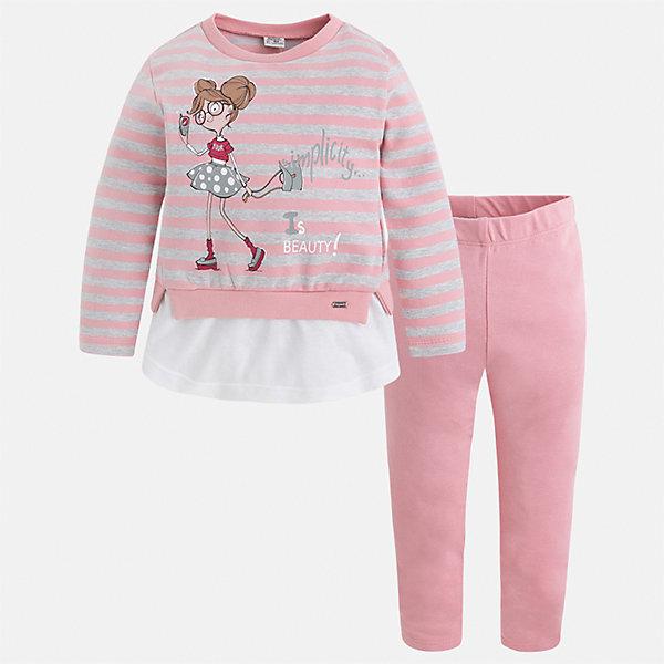 Комплект: футболка с длинным рукавом и леггинсы для девочки MayoralКомплекты<br>Характеристики товара:<br><br>• цвет: розовый<br>• комплектация: футболка с длинным рукавом и леггинсы<br>• состав ткани леггинсов: 92% хлопок, 8% эластан<br>• состав ткани футболки с длинным рукавом: 75% хлопок, 20% полиэстер, 5% эластан<br>• длинные рукава<br>• пояс: резинка<br>• сезон: круглый год<br>• страна бренда: Испания<br>• страна изготовитель: Индия<br><br>Мягкая детская футболка с длинным рукавом из этого комплекта украшена модным принтом. Удобный детский комплект от известного бренда Майорал состоит из трикотажной футболки с длинным рукавом и эластичных леггинсов. <br><br>В одежде от испанской компании Майорал ребенок будет выглядеть модно, а чувствовать себя - комфортно. Целая команда европейских талантливых дизайнеров работает над созданием стильных и оригинальных моделей одежды.<br><br>Комплект: футболка с длинным рукавом для девочки Mayoral (Майорал) можно купить в нашем интернет-магазине.<br><br>Ширина мм: 123<br>Глубина мм: 10<br>Высота мм: 149<br>Вес г: 209<br>Цвет: розовый<br>Возраст от месяцев: 72<br>Возраст до месяцев: 84<br>Пол: Женский<br>Возраст: Детский<br>Размер: 92,122,98,104,110,116<br>SKU: 6922823