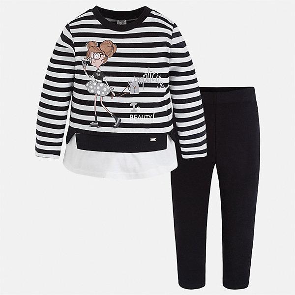 Комплект: футболка с длинным рукавом и леггинсы для девочки MayoralКомплекты<br>Характеристики товара:<br><br>• цвет: черный<br>• комплектация: футболка с длинным рукавом и леггинсы<br>• состав ткани леггинсов: 92% хлопок, 8% эластан<br>• состав ткани футболки с длинным рукавом: 75% хлопок, 20% полиэстер, 5% эластан<br>• длинные рукава<br>• пояс: резинка<br>• сезон: круглый год<br>• страна бренда: Испания<br>• страна изготовитель: Индия<br><br>Практичный и красивый комплект поможет подарить ребенку комфорт. Детский комплект от известного бренда Майорал состоит из мягкой футболки с принтом и эластичных леггинсов. <br><br>Для производства детской одежды популярный бренд Mayoral использует только качественную фурнитуру и материалы. Оригинальные и модные вещи от Майорал неизменно привлекают внимание и нравятся детям.<br><br>Комплект: футболка с длинным рукавом и леггинсы для девочки Mayoral (Майорал) можно купить в нашем интернет-магазине.<br><br>Ширина мм: 123<br>Глубина мм: 10<br>Высота мм: 149<br>Вес г: 209<br>Цвет: черный<br>Возраст от месяцев: 18<br>Возраст до месяцев: 24<br>Пол: Женский<br>Возраст: Детский<br>Размер: 92,122,116,110,104,98<br>SKU: 6922830