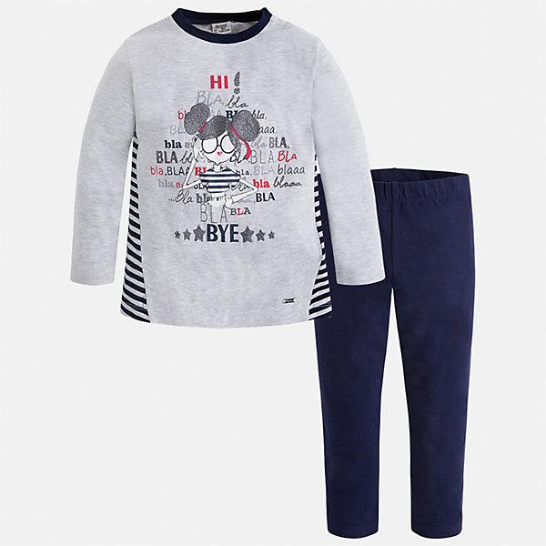 Комплект: футболка с длинным рукавом и леггинсы Mayoral для девочкиКомплекты<br>Характеристики товара:<br><br>• цвет: синий<br>• комплектация: футболка с длинным рукавом и леггинсы<br>• состав ткани леггинсов: 92% хлопок, 8% эластан<br>• состав ткани футболки с длинным рукавом: 60% хлопок, 32% полиэстер, 8% эластан<br>• длинные рукава<br>• пояс: резинка<br>• сезон: круглый год<br>• страна бренда: Испания<br>• страна изготовитель: Индия<br><br>Удобная детская футболка с длинным рукавом из этого комплекта украшена модным принтом. Модный детский комплект от известного бренда Майорал состоит из трикотажной футболки с длинным рукавом и эластичных леггинсов. <br><br>В одежде от испанской компании Майорал ребенок будет выглядеть модно, а чувствовать себя - комфортно. Целая команда европейских талантливых дизайнеров работает над созданием стильных и оригинальных моделей одежды.<br><br>Комплект: футболка с длинным рукавом для девочки Mayoral (Майорал) можно купить в нашем интернет-магазине.<br>Ширина мм: 123; Глубина мм: 10; Высота мм: 149; Вес г: 209; Цвет: синий; Возраст от месяцев: 96; Возраст до месяцев: 108; Пол: Женский; Возраст: Детский; Размер: 134,128,122,116,110,104,98,92; SKU: 6922846;
