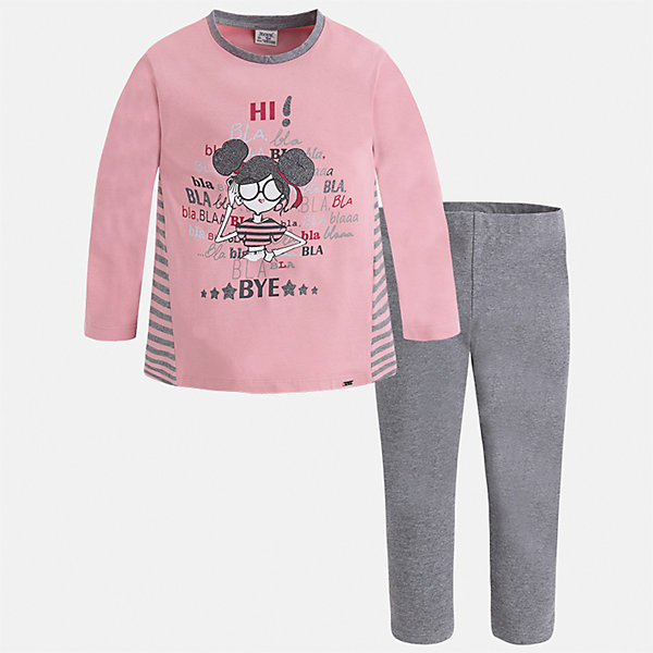 Комплект: футболка с длинным рукавом и леггинсы Mayoral для девочкиКомплекты<br>Характеристики товара:<br><br>• цвет: серый<br>• комплектация: футболка с длинным рукавом и леггинсы<br>• состав ткани леггинсов: 92% хлопок, 8% эластан<br>• состав ткани футболки с длинным рукавом: 60% хлопок, 32% полиэстер, 8% эластан<br>• длинные рукава<br>• пояс: резинка<br>• сезон: круглый год<br>• страна бренда: Испания<br>• страна изготовитель: Индия<br><br>Этот комплект поможет подарить ребенку комфорт. Детский комплект от известного бренда Майорал состоит из мягкой футболки с принтом и эластичных леггинсов. <br><br>Для производства детской одежды популярный бренд Mayoral использует только качественную фурнитуру и материалы. Оригинальные и модные вещи от Майорал неизменно привлекают внимание и нравятся детям.<br><br>Комплект: футболка с длинным рукавом для девочки Mayoral (Майорал) можно купить в нашем интернет-магазине.<br><br>Ширина мм: 123<br>Глубина мм: 10<br>Высота мм: 149<br>Вес г: 209<br>Цвет: серый<br>Возраст от месяцев: 96<br>Возраст до месяцев: 108<br>Пол: Женский<br>Возраст: Детский<br>Размер: 134,128,122,116,110,104,98,92<br>SKU: 6922855