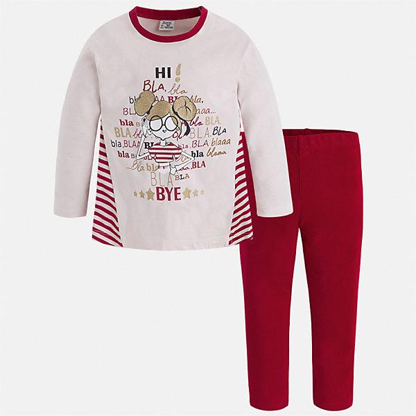 Комплект: футболка с длинным рукавом и леггинсы Mayoral для девочкиБлузки и рубашки<br>Характеристики товара:<br><br>• цвет: красный<br>• комплектация: футболка с длинным рукавом и леггинсы<br>• состав ткани леггинсов: 92% хлопок, 8% эластан<br>• состав ткани футболки с длинным рукавом: 60% хлопок, 32% полиэстер, 8% эластан<br>• длинные рукава<br>• пояс: резинка<br>• сезон: круглый год<br>• страна бренда: Испания<br>• страна изготовитель: Индия<br><br>Футболка с длинным рукавом стильно смотрится благодаря стильному принту. Модный и удобный детский комплект от известного испанского бренда Mayoral - футболка с длинным рукавом с принтом и однотонные эластичные леггинсы, это сочетание является очень актуальным в наступающем сезоне.<br><br>Детская одежда от испанской компании Mayoral отличаются оригинальным и всегда стильным дизайном. Качество продукции неизменно очень высокое.<br><br>Комплект: футболка с длинным рукавом для девочки Mayoral (Майорал) можно купить в нашем интернет-магазине.<br><br>Ширина мм: 123<br>Глубина мм: 10<br>Высота мм: 149<br>Вес г: 209<br>Цвет: красный<br>Возраст от месяцев: 84<br>Возраст до месяцев: 96<br>Пол: Женский<br>Возраст: Детский<br>Размер: 128,122,116,110,104,98,92,134<br>SKU: 6922864