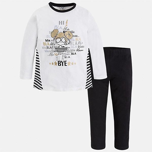 Купить Комплект: футболка с длинным рукавом и леггинсы Mayoral для девочки, Индия, черный, 98, 92, 134, 128, 122, 116, 110, 104, Женский