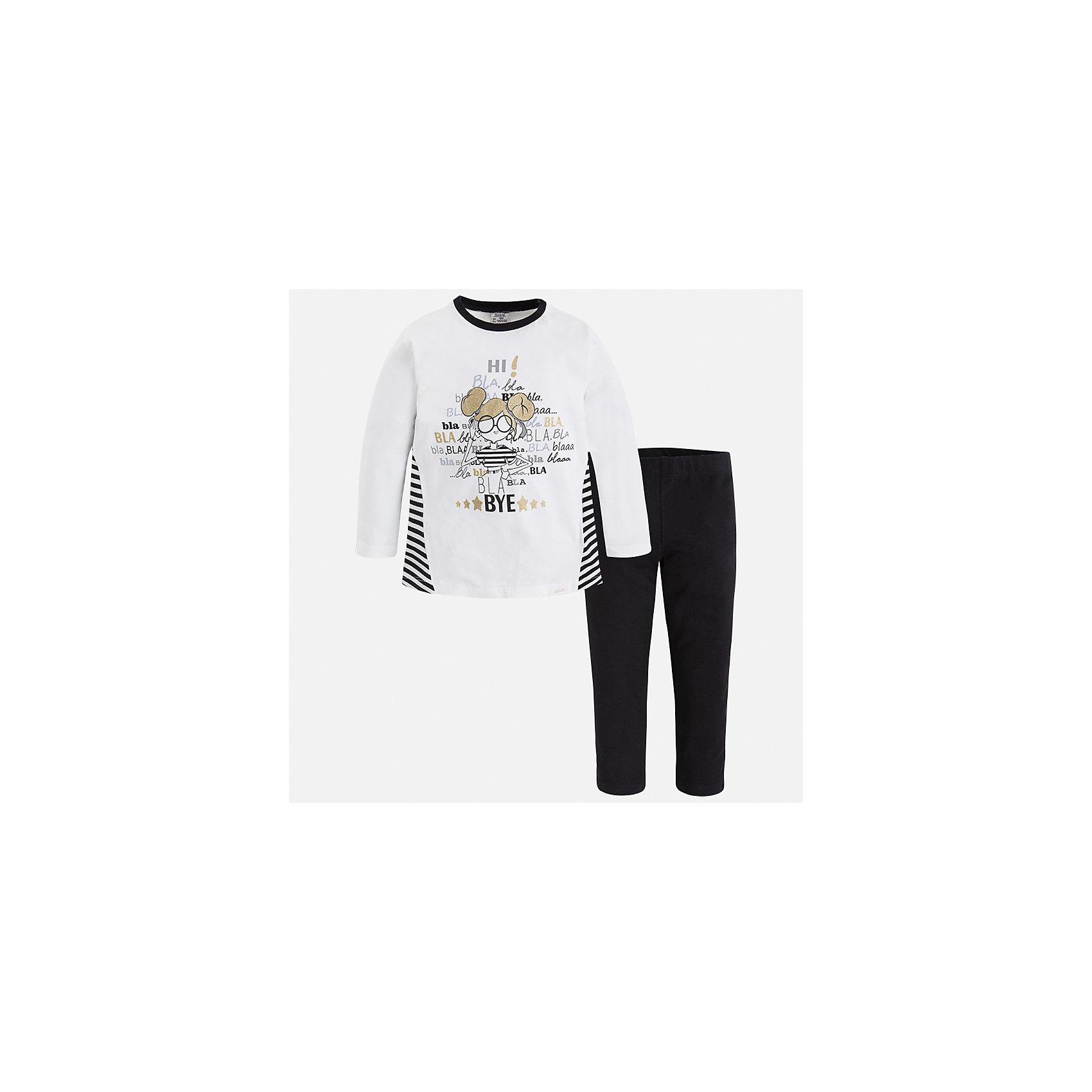Комплект: футболка с длинным рукавом и леггинсы Mayoral для девочкиКомплекты<br>Характеристики товара:<br><br>• цвет: черный<br>• комплектация: футболка с длинным рукавом и леггинсы<br>• состав ткани леггинсов: 92% хлопок, 8% эластан<br>• состав ткани футболки с длинным рукавом: 60% хлопок, 32% полиэстер, 8% эластан<br>• длинные рукава<br>• пояс: резинка<br>• сезон: круглый год<br>• страна бренда: Испания<br>• страна изготовитель: Индия<br><br>Детская футболка с длинным рукавом из этого комплекта украшена модным принтом. Модный детский комплект от известного бренда Майорал состоит из трикотажной футболки с длинным рукавом и эластичных леггинсов. <br><br>В одежде от испанской компании Майорал ребенок будет выглядеть модно, а чувствовать себя - комфортно. Целая команда европейских талантливых дизайнеров работает над созданием стильных и оригинальных моделей одежды.<br><br>Комплект: футболка с длинным рукавом для девочки Mayoral (Майорал) можно купить в нашем интернет-магазине.<br><br>Ширина мм: 123<br>Глубина мм: 10<br>Высота мм: 149<br>Вес г: 209<br>Цвет: черный<br>Возраст от месяцев: 96<br>Возраст до месяцев: 108<br>Пол: Женский<br>Возраст: Детский<br>Размер: 134,92,98,104,110,116,122,128<br>SKU: 6922873