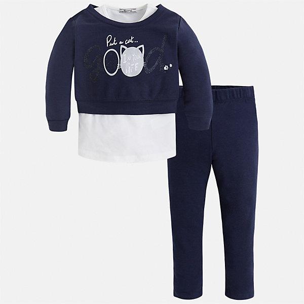 Комплект: футболка с длинным рукавом и леггинсы Mayoral для девочкиКомплекты<br>Характеристики товара:<br><br>• цвет: синий<br>• комплектация: блузка и леггинсы<br>• состав ткани леггинсов: 57% хлопок, 38% полиэстер, 5% эластан<br>• состав ткани блузки: 57% хлопок, 38% полиэстер, 5% эластан<br>• длинные рукава<br>• стразы<br>• пояс: резинка<br>• сезон: круглый год<br>• страна бренда: Испания<br>• страна изготовитель: Китай<br><br>Укороченная детская блузка из этого комплекта украшена модным принтом и стразами. Удобный детский комплект от известного бренда Майорал состоит из трикотажной блузки и эластичных леггинсов. <br><br>В одежде от испанской компании Майорал ребенок будет выглядеть модно, а чувствовать себя - комфортно. Целая команда европейских талантливых дизайнеров работает над созданием стильных и оригинальных моделей одежды.<br><br>Комплект: блузка и леггинсы для девочки Mayoral (Майорал) можно купить в нашем интернет-магазине.<br><br>Ширина мм: 123<br>Глубина мм: 10<br>Высота мм: 149<br>Вес г: 209<br>Цвет: синий<br>Возраст от месяцев: 96<br>Возраст до месяцев: 108<br>Пол: Женский<br>Возраст: Детский<br>Размер: 134,104,110,116,122,128<br>SKU: 6922896