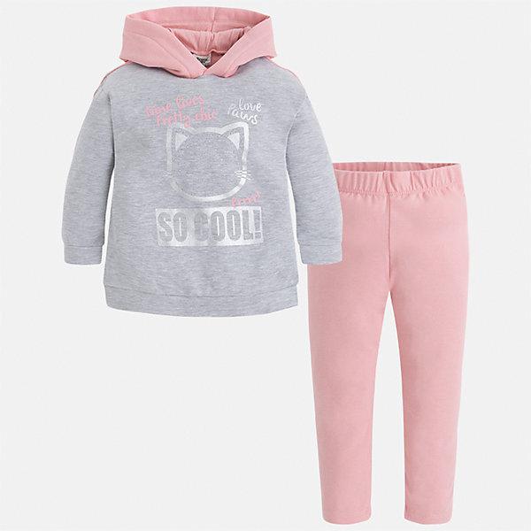 Комплект: футболка с длинным рукавом и леггинсы Mayoral для девочкиКомплекты<br>Характеристики товара:<br><br>• цвет: розовый<br>• комплектация: футболка с длинным рукавом и леггинсы<br>• состав ткани леггинсов: 57% хлопок, 38% полиэстер, 5% эластан<br>• состав ткани блузки: 57% хлопок, 38% полиэстер, 5% эластан<br>• длинные рукава<br>• стразы<br>• пояс: резинка<br>• сезон: круглый год<br>• страна бренда: Испания<br>• страна изготовитель: Китай<br><br>В прохладную погоду этот комплект поможет подарить ребенку комфорт. Детский комплект от известного бренда Майорал состоит из мягкой футболки с принтом и эластичных леггинсов. <br><br>Для производства детской одежды популярный бренд Mayoral использует только качественную фурнитуру и материалы. Оригинальные и модные вещи от Майорал неизменно привлекают внимание и нравятся детям.<br><br>Комплект: футболка с длинным рукавом для девочки Mayoral (Майорал) можно купить в нашем интернет-магазине.<br><br>Ширина мм: 123<br>Глубина мм: 10<br>Высота мм: 149<br>Вес г: 209<br>Цвет: розовый<br>Возраст от месяцев: 18<br>Возраст до месяцев: 24<br>Пол: Женский<br>Возраст: Детский<br>Размер: 92,134,128,122,116,110,104,98<br>SKU: 6922903
