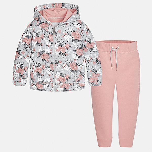 Спортивный костюм для девочки MayoralСпортивная одежда<br>Характеристики товара:<br><br>• цвет: розовый<br>• комплектация: курточка и брюки<br>• состав ткани курточки: 45% хлопок, 42% полиэстер, 13% металлизированная нить<br>• состав ткани брюк: 57% хлопок, 38% полиэстер, 5% эластан<br>• длинные рукава<br>• застежка: молния<br>• пояс: резинка и шнурок<br>• особенности модели: спортивный стиль<br>• сезон: круглый год<br>• страна бренда: Испания<br>• страна изготовитель: Китай<br><br>Курточка с капюшоном из этого комплекта украшена модным принтом. Удобный детский спортивный костюм от известного бренда Майорал выглядит аккуратно и стильно. Удобный спортивный костюм - отличный вариант одежды для отдыха и занятий спортом. <br><br>Для производства детской одежды популярный бренд Mayoral использует только качественную фурнитуру и материалы. Оригинальные и модные вещи от Майорал неизменно привлекают внимание и нравятся детям.<br><br>Спортивный костюм для девочки Mayoral (Майорал) можно купить в нашем интернет-магазине.<br>Ширина мм: 247; Глубина мм: 16; Высота мм: 140; Вес г: 225; Цвет: розовый; Возраст от месяцев: 18; Возраст до месяцев: 24; Пол: Женский; Возраст: Детский; Размер: 92,134,128,122,116,110,104,98; SKU: 6922930;