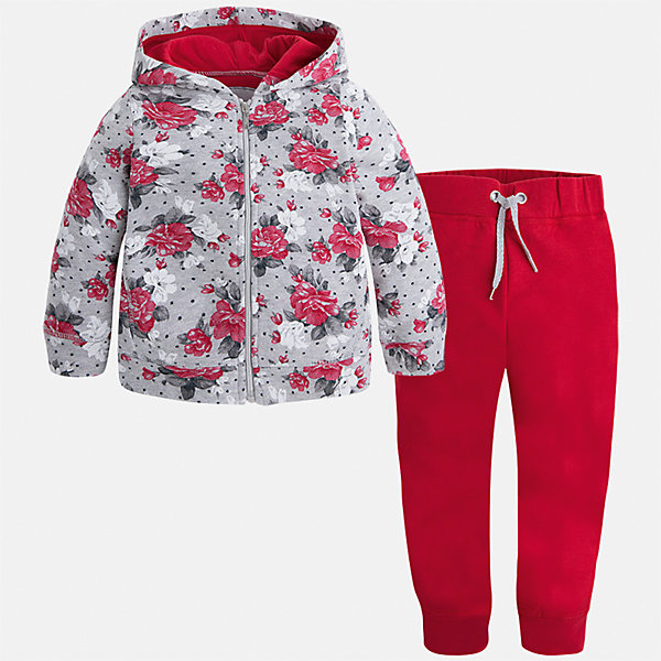 Спортивный костюм для девочки MayoralКомплекты<br>Характеристики товара:<br><br>• цвет: красный<br>• комплектация: курточка и брюки<br>• состав ткани курточки: 45% хлопок, 42% полиэстер, 13% металлизированная нить<br>• состав ткани брюк: 57% хлопок, 38% полиэстер, 5% эластан<br>• длинные рукава<br>• застежка: молния<br>• пояс: резинка и шнурок<br>• особенности модели: спортивный стиль<br>• сезон: круглый год<br>• страна бренда: Испания<br>• страна изготовитель: Китай<br><br>Такой спортивный костюм - отличный вариант одежды для отдыха и занятий спортом. Курточка с капюшоном из этого комплекта украшена модным принтом. Удобный детский спортивный костюм от известного бренда Майорал выглядит аккуратно и стильно. <br><br>Детская одежда от испанской компании Mayoral отличаются оригинальным и всегда стильным дизайном. Качество продукции неизменно очень высокое.<br><br>Спортивный костюм для девочки Mayoral (Майорал) можно купить в нашем интернет-магазине.<br>Ширина мм: 247; Глубина мм: 16; Высота мм: 140; Вес г: 225; Цвет: красный; Возраст от месяцев: 18; Возраст до месяцев: 24; Пол: Женский; Возраст: Детский; Размер: 92,134,128,122,116,110,104,98; SKU: 6922939;