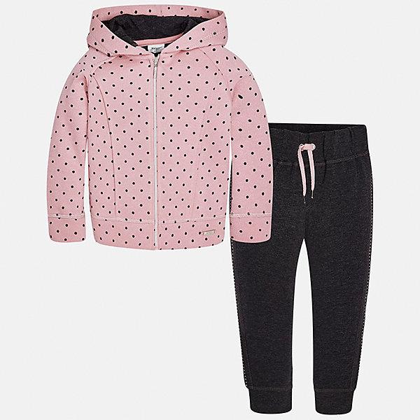 Спортивный костюм для девочки MayoralСпортивная одежда<br>Характеристики товара:<br><br>• цвет: черный<br>• комплектация: курточка и брюки<br>• состав ткани курточки: 45% хлопок, 42% полиэстер, 13% металлизированная нить<br>• состав ткани брюк: 57% хлопок, 38% полиэстер, 5% эластан<br>• длинные рукава<br>• застежка: молния<br>• пояс: резинка и шнурок<br>• особенности модели: спортивный стиль<br>• сезон: круглый год<br>• страна бренда: Испания<br>• страна изготовитель: Индия<br><br>Модная курточка из этого комплекта дополнена капюшоном. Удобный детский спортивный костюм от известного бренда Майорал выглядит аккуратно и стильно. Удобный спортивный костюм - отличный вариант одежды для отдыха и занятий спортом. <br><br>Для производства детской одежды популярный бренд Mayoral использует только качественную фурнитуру и материалы. Оригинальные и модные вещи от Майорал неизменно привлекают внимание и нравятся детям.<br><br>Спортивный костюм для девочки Mayoral (Майорал) можно купить в нашем интернет-магазине.<br><br>Ширина мм: 247<br>Глубина мм: 16<br>Высота мм: 140<br>Вес г: 225<br>Цвет: темно-серый<br>Возраст от месяцев: 72<br>Возраст до месяцев: 84<br>Пол: Женский<br>Возраст: Детский<br>Размер: 122,116,110,104,98,92<br>SKU: 6922957