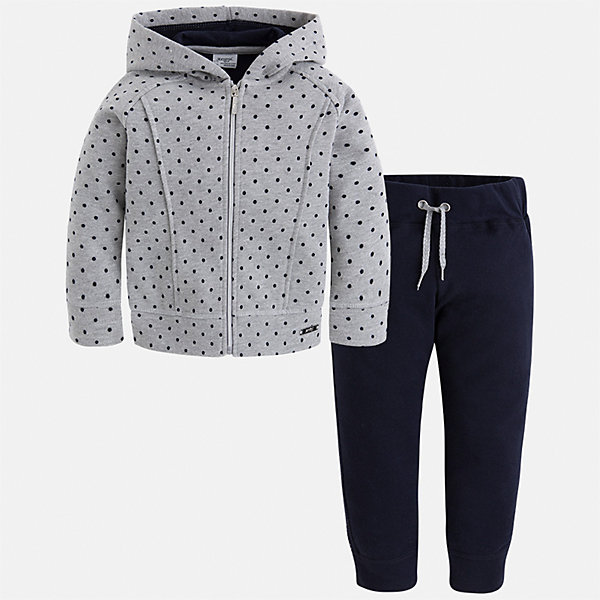 Спортивный костюм Mayoral для девочкиКомплекты<br>Характеристики товара:<br><br>• цвет: черный<br>• комплектация: курточка и брюки<br>• состав ткани курточки: 57% хлопок, 38% полиэстер, 5% эластан<br>• состав ткани брюк: 45% хлопок, 42% полиэстер, 13% металлизированная нить<br>• длинные рукава<br>• застежка: молния<br>• пояс: резинка и шнурок<br>• особенности модели: спортивный стиль<br>• сезон: круглый год<br>• страна бренда: Испания<br>• страна изготовитель: Индия<br><br>Этот спортивный костюм - отличный вариант одежды для отдыха и занятий спортом. Курточка с капюшоном из этого комплекта украшена модным принтом. Удобный детский спортивный костюм от известного бренда Майорал выглядит аккуратно и стильно. <br><br>Детская одежда от испанской компании Mayoral отличаются оригинальным и всегда стильным дизайном. Качество продукции неизменно очень высокое.<br><br>Спортивный костюм для девочки Mayoral (Майорал) можно купить в нашем интернет-магазине.<br>Ширина мм: 247; Глубина мм: 16; Высота мм: 140; Вес г: 225; Цвет: темно-синий; Возраст от месяцев: 18; Возраст до месяцев: 24; Пол: Женский; Возраст: Детский; Размер: 92,134,128,122,116,110,104,98; SKU: 6922964;