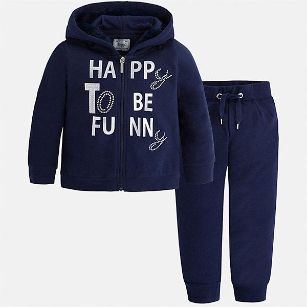 Спортивный костюм Mayoral для девочкиКомплекты<br>Характеристики товара:<br><br>• цвет: синий<br>• комплектация: курточка и брюки<br>• состав ткани курточки: 58% хлопок, 37% полиэстер, 3% эластан<br>• состав ткани брюк: 58% хлопок, 37% полиэстер, 3% эластан<br>• длинные рукава<br>• застежка: молния<br>• пояс: резинка и шнурок<br>• особенности модели: спортивный стиль<br>• сезон: круглый год<br>• страна бренда: Испания<br>• страна изготовитель: Индия<br><br>Спортивная курточка с принтом из этого комплекта дополнена капюшоном. Удобный детский спортивный костюм от известного бренда Майорал выглядит аккуратно и стильно. Модный спортивный костюм - отличный вариант одежды для отдыха и занятий спортом. <br><br>Для производства детской одежды популярный бренд Mayoral использует только качественную фурнитуру и материалы. Оригинальные и модные вещи от Майорал неизменно привлекают внимание и нравятся детям.<br><br>Спортивный костюм для девочки Mayoral (Майорал) можно купить в нашем интернет-магазине.<br><br>Ширина мм: 247<br>Глубина мм: 16<br>Высота мм: 140<br>Вес г: 225<br>Цвет: синий<br>Возраст от месяцев: 18<br>Возраст до месяцев: 24<br>Пол: Женский<br>Возраст: Детский<br>Размер: 116,110,104,98,92,134,128,122<br>SKU: 6923004