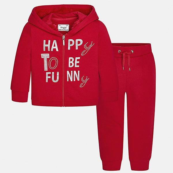Спортивный костюм для девочки MayoralКомплекты<br>Характеристики товара:<br><br>• цвет: красный<br>• комплектация: курточка и брюки<br>• состав ткани курточки: 58% хлопок, 37% полиэстер, 3% эластан<br>• состав ткани брюк: 58% хлопок, 37% полиэстер, 3% эластан<br>• длинные рукава<br>• застежка: молния<br>• пояс: резинка и шнурок<br>• особенности модели: спортивный стиль<br>• сезон: круглый год<br>• страна бренда: Испания<br>• страна изготовитель: Индия<br><br>Стильный и удобный спортивный костюм - отличный вариант одежды для отдыха и занятий спортом. Курточка с капюшоном из этого комплекта украшена модным принтом. Удобный детский спортивный костюм от известного бренда Майорал выглядит аккуратно и стильно. <br><br>Детская одежда от испанской компании Mayoral отличаются оригинальным и всегда стильным дизайном. Качество продукции неизменно очень высокое.<br><br>Спортивный костюм для девочки Mayoral (Майорал) можно купить в нашем интернет-магазине.<br><br>Ширина мм: 247<br>Глубина мм: 16<br>Высота мм: 140<br>Вес г: 225<br>Цвет: красный<br>Возраст от месяцев: 18<br>Возраст до месяцев: 24<br>Пол: Женский<br>Возраст: Детский<br>Размер: 110,104,98,92,134,128,122,116<br>SKU: 6923013