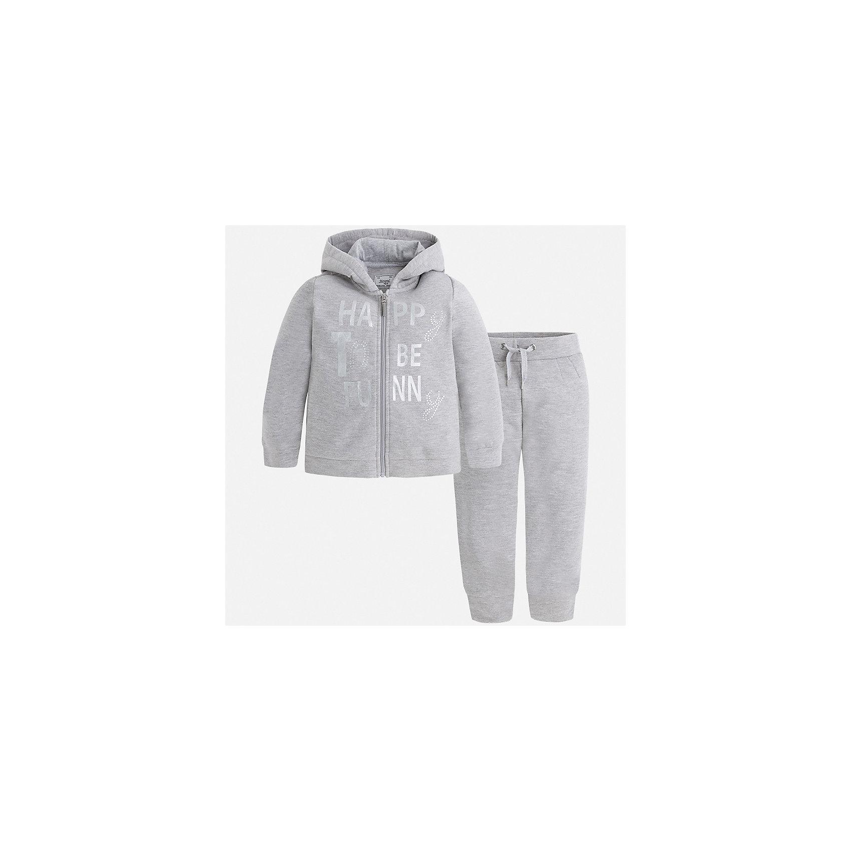 Спортивный костюм для девочки MayoralКомплекты<br>Характеристики товара:<br><br>• цвет: серый<br>• комплектация: курточка и брюки<br>• состав ткани курточки: 58% хлопок, 37% полиэстер, 3% эластан<br>• состав ткани брюк: 58% хлопок, 37% полиэстер, 3% эластан<br>• длинные рукава<br>• застежка: молния<br>• пояс: резинка и шнурок<br>• особенности модели: спортивный стиль<br>• сезон: круглый год<br>• страна бренда: Испания<br>• страна изготовитель: Индия<br><br>Костюм для занятий спортом может быть стильной и удобной. Этот спортивный костюм - отличный вариант одежды для отдыха и занятий спортом, он состоит из брюк и курточки с капюшоном.<br><br>В одежде от испанской компании Майорал ребенок будет выглядеть модно, а чувствовать себя - комфортно. Целая команда европейских талантливых дизайнеров работает над созданием стильных и оригинальных моделей одежды.<br><br>Спортивный костюм для девочки Mayoral (Майорал) можно купить в нашем интернет-магазине.<br><br>Ширина мм: 247<br>Глубина мм: 16<br>Высота мм: 140<br>Вес г: 225<br>Цвет: серый<br>Возраст от месяцев: 96<br>Возраст до месяцев: 108<br>Пол: Женский<br>Возраст: Детский<br>Размер: 134,92,98,104,110,116,122,128<br>SKU: 6923022