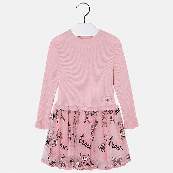Платье Mayoral для девочкиОсенне-зимние платья и сарафаны<br>Характеристики товара:<br><br>• цвет: розовый<br>• состав ткани: верх - 33% акрил, 33% полиамид, 31% полиэстер, 3% ангора; низ - 67% полиэстер, 33% хлопок<br>• сезон: круглый год<br>• длинные рукава<br>• комбинированный материал<br>• страна бренда: Испания<br>• страна изготовитель: Индия<br><br>Розовое платье сшито из комбинированного материала. Детское платье от бренда Майорал поможет девочке выглядеть женственно и стильно. <br><br>В одежде от испанской компании Майорал ребенок будет выглядеть модно, а чувствовать себя - комфортно. Целая команда европейских талантливых дизайнеров работает над созданием стильных и оригинальных моделей одежды.<br><br>Платье для девочки Mayoral (Майорал) можно купить в нашем интернет-магазине.<br><br>Ширина мм: 236<br>Глубина мм: 16<br>Высота мм: 184<br>Вес г: 177<br>Цвет: розовый<br>Возраст от месяцев: 24<br>Возраст до месяцев: 36<br>Пол: Женский<br>Возраст: Детский<br>Размер: 98,134,128,122,116,110,104<br>SKU: 6923332