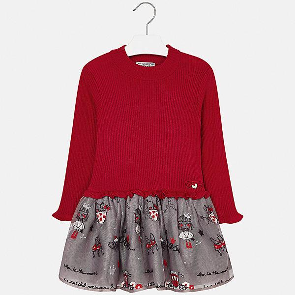 Платье для девочки MayoralПлатья и сарафаны<br>Характеристики товара:<br><br>• цвет: красный<br>• состав ткани: верх - 33% акрил, 33% полиамид, 31% полиэстер, 3% ангора; низ - 67% полиэстер, 33% хлопок<br>• сезон: круглый год<br>• длинные рукава<br>• комбинированный материал<br>• страна бренда: Испания<br>• страна изготовитель: Индия<br><br>Эффектное красное детское платье от бренда Майорал поможет девочке выглядеть красиво и чувствовать себя комфортно. Такое детское платье отличается интересным фасоном и отделкой. <br><br>Для производства детской одежды популярный бренд Mayoral использует только качественную фурнитуру и материалы. Оригинальные и модные вещи от Майорал неизменно привлекают внимание и нравятся детям.<br><br>Платье для девочки Mayoral (Майорал) можно купить в нашем интернет-магазине.<br>Ширина мм: 236; Глубина мм: 16; Высота мм: 184; Вес г: 177; Цвет: красный; Возраст от месяцев: 60; Возраст до месяцев: 72; Пол: Женский; Возраст: Детский; Размер: 116,134,104,98,128,122,110; SKU: 6923340;