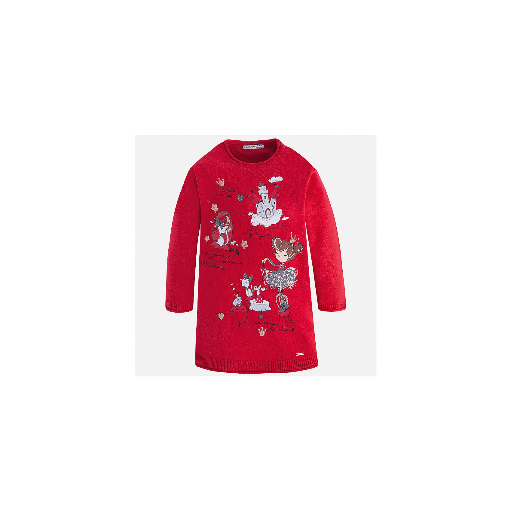 Платье Mayoral для девочкиПлатья и сарафаны<br>Характеристики товара:<br><br>• цвет: красный<br>• состав ткани: 55% хлопок, 45% акрил<br>• сезон: круглый год<br>• длинные рукава<br>• прямой силуэт<br>• страна бренда: Испания<br>• страна изготовитель: Индия<br><br>Красное трикотажное детское платье от бренда Майорал поможет девочке выглядеть красиво и чувствовать себя комфортно. Такое детское платье отличается интересным фасоном и отделкой. <br><br>Для производства детской одежды популярный бренд Mayoral использует только качественную фурнитуру и материалы. Оригинальные и модные вещи от Майорал неизменно привлекают внимание и нравятся детям.<br><br>Платье для девочки Mayoral (Майорал) можно купить в нашем интернет-магазине.<br><br>Ширина мм: 236<br>Глубина мм: 16<br>Высота мм: 184<br>Вес г: 177<br>Цвет: красный<br>Возраст от месяцев: 96<br>Возраст до месяцев: 108<br>Пол: Женский<br>Возраст: Детский<br>Размер: 134,92,98,104,110,116,122,128<br>SKU: 6923365