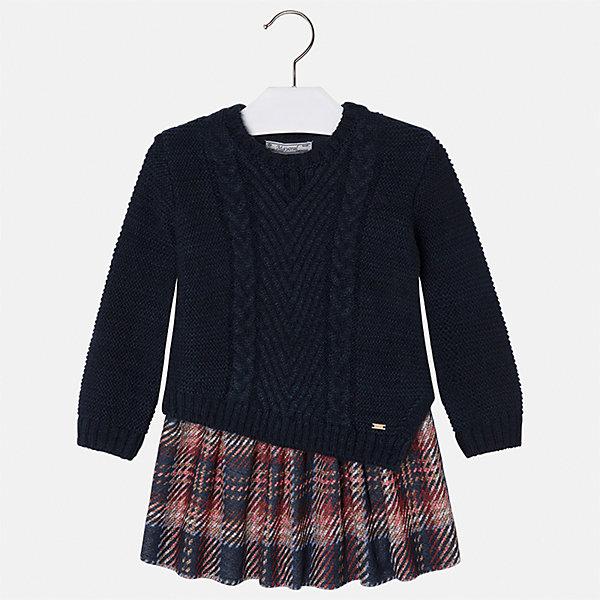 Платье Mayoral для девочкиПлатья и сарафаны<br>Характеристики товара:<br><br>• цвет: черный<br>• состав ткани: верх - 40% акрил, 36% хлопок, 24% полиэстер; низ - 60% хлопок, 40% полиэстер<br>• сезон: круглый год<br>• длинные рукава<br>• комбинированный материал<br>• страна бренда: Испания<br>• страна изготовитель: Индия<br><br>Это оригинальное платье сшито из комбинированного материала - оно выглядит как свитер с юбкой. Детское платье от бренда Майорал поможет девочке выглядеть женственно и стильно. <br><br>В одежде от испанской компании Майорал ребенок будет выглядеть модно, а чувствовать себя - комфортно. Целая команда европейских талантливых дизайнеров работает над созданием стильных и оригинальных моделей одежды.<br><br>Платье для девочки Mayoral (Майорал) можно купить в нашем интернет-магазине.<br><br>Ширина мм: 236<br>Глубина мм: 16<br>Высота мм: 184<br>Вес г: 177<br>Цвет: темно-синий<br>Возраст от месяцев: 24<br>Возраст до месяцев: 36<br>Пол: Женский<br>Возраст: Детский<br>Размер: 98,134,128,116,110,104,122<br>SKU: 6923410