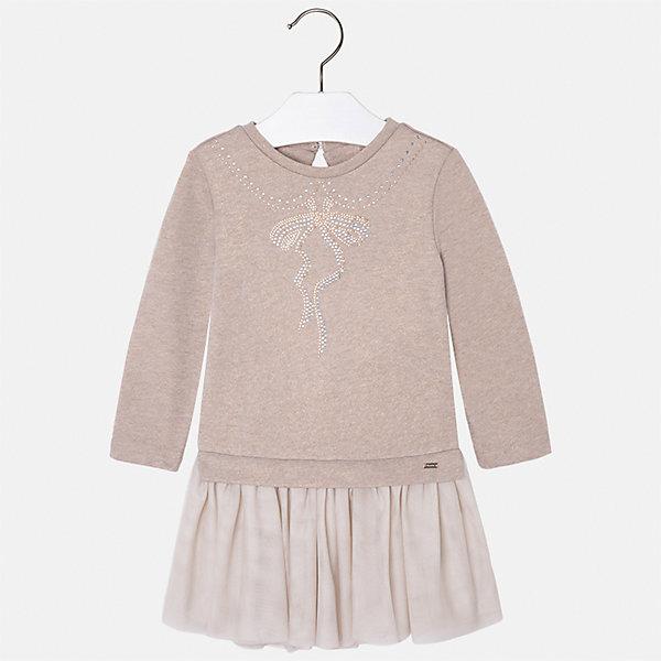 Платье для девочки MayoralПлатья и сарафаны<br>Характеристики товара:<br><br>• цвет: коричневый<br>• состав ткани: верх - 60% хлопок, 28% полиэстер, 12% полиамид, низ - 100% хлопок<br>• сезон: круглый год<br>• длинные рукава<br>• стразы<br>• застежка: пуговица<br>• страна бренда: Испания<br>• страна изготовитель: Индия<br><br>Красивое детское платье от бренда Майорал поможет девочке выглядеть женственно и стильно. Это оригинальное платье декорировано узором из стразами. <br><br>В одежде от испанской компании Майорал ребенок будет выглядеть модно, а чувствовать себя - комфортно. Целая команда европейских талантливых дизайнеров работает над созданием стильных и оригинальных моделей одежды.<br><br>Платье для девочки Mayoral (Майорал) можно купить в нашем интернет-магазине.<br><br>Ширина мм: 236<br>Глубина мм: 16<br>Высота мм: 184<br>Вес г: 177<br>Цвет: коричневый<br>Возраст от месяцев: 18<br>Возраст до месяцев: 24<br>Пол: Женский<br>Возраст: Детский<br>Размер: 104,98,92,134,128,122,116,110<br>SKU: 6923482