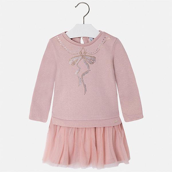 Платье для девочки MayoralПлатья и сарафаны<br>Характеристики товара:<br><br>• цвет: розовый<br>• состав ткани: верх - 60% хлопок, 28% полиэстер, 12% полиамид, низ - 100% хлопок<br>• сезон: круглый год<br>• длинные рукава<br>• стразы<br>• застежка: пуговица<br>• страна бренда: Испания<br>• страна изготовитель: Индия<br><br>Розовое модное платье от бренда Майорал поможет девочке выглядеть красиво и чувствовать себя комфортно. Такое детское платье отличается интересным фасоном и отделкой. <br><br>Для производства детской одежды популярный бренд Mayoral использует только качественную фурнитуру и материалы. Оригинальные и модные вещи от Майорал неизменно привлекают внимание и нравятся детям.<br><br>Платье для девочки Mayoral (Майорал) можно купить в нашем интернет-магазине.<br><br>Ширина мм: 236<br>Глубина мм: 16<br>Высота мм: 184<br>Вес г: 177<br>Цвет: розовый<br>Возраст от месяцев: 18<br>Возраст до месяцев: 24<br>Пол: Женский<br>Возраст: Детский<br>Размер: 92,134,128,122,116,110,104,98<br>SKU: 6923491