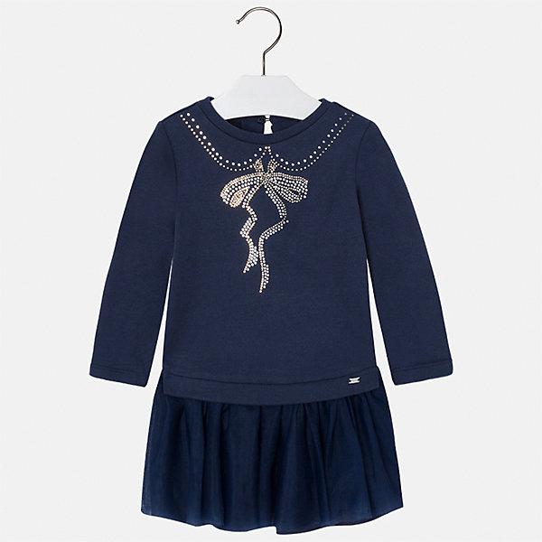 Платье для девочки MayoralПлатья и сарафаны<br>Характеристики товара:<br><br>• цвет: синий<br>• состав ткани: верх - 60% хлопок, 28% полиэстер, 12% полиамид, низ - 100% хлопок<br>• сезон: круглый год<br>• длинные рукава<br>• стразы<br>• застежка: пуговица<br>• страна бренда: Испания<br>• страна изготовитель: Индия<br><br>Качественное и красивое детское платье от бренда Майорал поможет девочке выглядеть женственно и стильно. Это оригинальное платье декорировано узором из стразами. <br><br>В одежде от испанской компании Майорал ребенок будет выглядеть модно, а чувствовать себя - комфортно. Целая команда европейских талантливых дизайнеров работает над созданием стильных и оригинальных моделей одежды.<br><br>Платье для девочки Mayoral (Майорал) можно купить в нашем интернет-магазине.<br><br>Ширина мм: 236<br>Глубина мм: 16<br>Высота мм: 184<br>Вес г: 177<br>Цвет: синий<br>Возраст от месяцев: 48<br>Возраст до месяцев: 60<br>Пол: Женский<br>Возраст: Детский<br>Размер: 110,104,98,92,134,128,122,116<br>SKU: 6923509