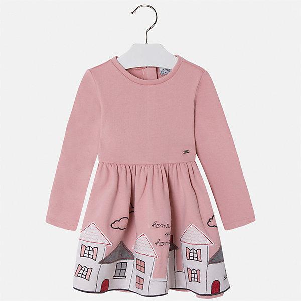 Платье для девочки MayoralПлатья и сарафаны<br>Характеристики товара:<br><br>• цвет: розовый<br>• состав ткани: 60% хлопок, 40% полиэстер<br>• сезон: круглый год<br>• длинные рукава<br>• застежка: молния<br>• страна бренда: Испания<br>• страна изготовитель: Индия<br><br>Модная детская одежда от Mayoral поможет детям выглядеть красиво. Это платье для девочки из дышащего материала отличается стильным силуэтом и принтом. Детское платье от бренда Майорал поможет девочке выглядеть женственно и стильно. <br><br>Детская одежда от испанской компании Mayoral отличаются оригинальным и всегда стильным дизайном. Качество продукции неизменно очень высокое.<br><br>Платье для девочки Mayoral (Майорал) можно купить в нашем интернет-магазине.<br><br>Ширина мм: 236<br>Глубина мм: 16<br>Высота мм: 184<br>Вес г: 177<br>Цвет: розовый<br>Возраст от месяцев: 96<br>Возраст до месяцев: 108<br>Пол: Женский<br>Возраст: Детский<br>Размер: 134,92,98,104,110,116,122,128<br>SKU: 6923527