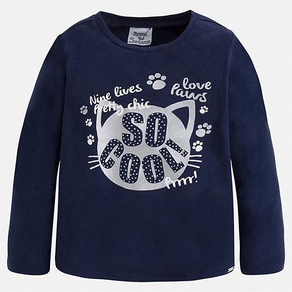 Футболка с длинным рукавом для девочки MayoralФутболки с длинным рукавом<br>Характеристики товара:<br><br>• цвет: синий<br>• состав ткани: 95% хлопок, 5% эластан<br>• сезон: круглый год<br>• длинные рукава<br>• страна бренда: Испания<br>• страна изготовитель: Индия<br><br>Синяя футболка с длинным рукавом может стать основой гардероба современной девочки. Красивая и удобная футболка с длинным рукавом для девочки сшита из качественного трикотажа, сделанного практически полностью из хлопка - он не вызывает аллергии и позволяет коже дышать. <br><br>Детская одежда от испанской компании Mayoral отличаются оригинальным и всегда стильным дизайном. Качество продукции неизменно очень высокое.<br><br>Футболку с длинным рукавом для девочки Mayoral (Майорал) можно купить в нашем интернет-магазине.<br>Ширина мм: 230; Глубина мм: 40; Высота мм: 220; Вес г: 250; Цвет: синий; Возраст от месяцев: 60; Возраст до месяцев: 72; Пол: Женский; Возраст: Детский; Размер: 116,122,128,134,98,92,110,104; SKU: 6923937;