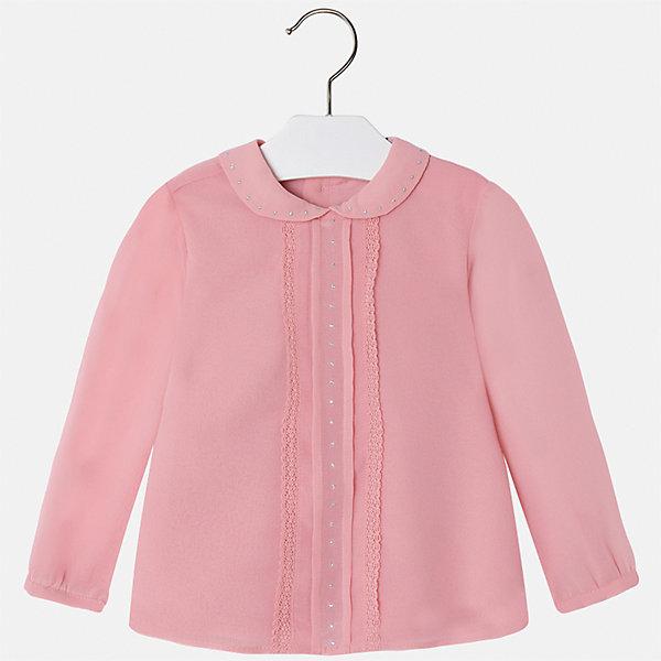 Блузка для девочки MayoralБлузки и рубашки<br>Характеристики товара:<br><br>• цвет: розовый<br>• состав ткани: 100% полиэстер, подкладка - 65% полиэстер, 35% хлопок<br>• сезон: круглый год<br>• застежка: пуговицы<br>• особенности модели: школьная, нарядная<br>• стразы<br>• длинные рукава<br>• страна бренда: Испания<br>• страна изготовитель: Индия<br><br>Розовая блузка от Майорал - это пример отличного вкуса. Она сделана из легкого дышащего материала. Эта блузка для девочки обеспечит ребенку комфорт и модный внешний вид. <br><br>В одежде от испанской компании Майорал ребенок будет выглядеть модно, а чувствовать себя - комфортно. Целая команда европейских талантливых дизайнеров работает над созданием стильных и оригинальных моделей одежды.<br><br>Блузку для девочки Mayoral (Майорал) можно купить в нашем интернет-магазине.<br>Ширина мм: 186; Глубина мм: 87; Высота мм: 198; Вес г: 197; Цвет: розовый; Возраст от месяцев: 24; Возраст до месяцев: 36; Пол: Женский; Возраст: Детский; Размер: 98,134,128,122,116,110,104; SKU: 6923968;