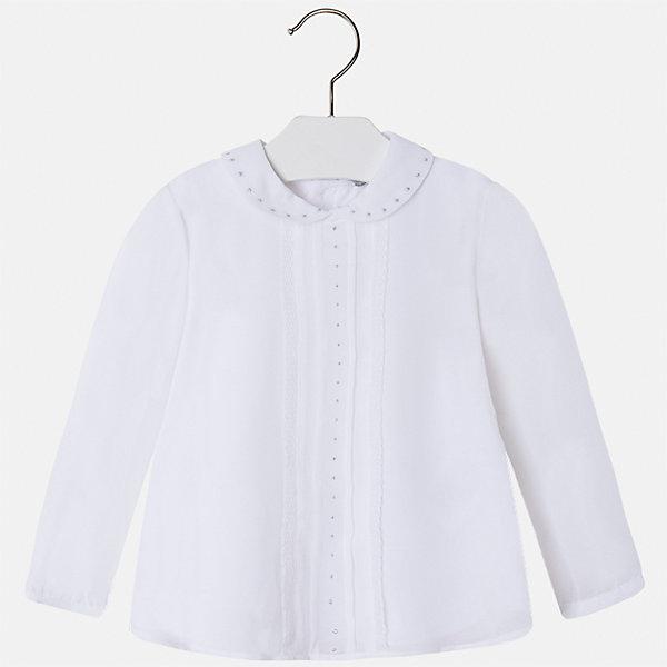 Блузка для девочки MayoralБлузки и рубашки<br>Характеристики товара:<br><br>• цвет: белый<br>• состав ткани: 100% полиэстер, подкладка - 65% полиэстер, 35% хлопок<br>• сезон: круглый год<br>• застежка: пуговицы<br>• особенности модели: школьная, нарядная<br>• стразы<br>• длинные рукава<br>• страна бренда: Испания<br>• страна изготовитель: Индия<br><br>Белая блузка отличается свободным силуэтом и интересной отделкой. Стильная блузка для девочки от бренда Майорал поможет девочке выглядеть модно и чувствовать себя комфортно. <br><br>Для производства детской одежды популярный бренд Mayoral использует только качественную фурнитуру и материалы. Оригинальные и модные вещи от Майорал неизменно привлекают внимание и нравятся детям.<br><br>Блузку для девочки Mayoral (Майорал) можно купить в нашем интернет-магазине.<br><br>Ширина мм: 186<br>Глубина мм: 87<br>Высота мм: 198<br>Вес г: 197<br>Цвет: белый<br>Возраст от месяцев: 24<br>Возраст до месяцев: 36<br>Пол: Женский<br>Возраст: Детский<br>Размер: 98,134,128,122,116,110,104<br>SKU: 6923976