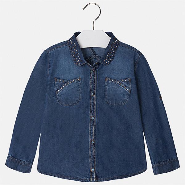 Блузка для девочки MayoralБлузки и рубашки<br>Характеристики товара:<br><br>• цвет: голубой<br>• состав ткани: 100% хлопок<br>• сезон: круглый год<br>• застежка: кнопки<br>• стразы<br>• длинные рукава<br>• страна бренда: Испания<br>• страна изготовитель: Индия<br><br>Джинсовая блузка со стразами может стать основой гардероба современной девочки. Красивая и удобная блузка для девочки сшита из легкого качественного материала. <br><br>Детская одежда от испанской компании Mayoral отличаются оригинальным и всегда стильным дизайном. Качество продукции неизменно очень высокое.<br><br>Блузку для девочки Mayoral (Майорал) можно купить в нашем интернет-магазине.<br>Ширина мм: 186; Глубина мм: 87; Высота мм: 198; Вес г: 197; Цвет: синий деним; Возраст от месяцев: 96; Возраст до месяцев: 108; Пол: Женский; Возраст: Детский; Размер: 134,98,104,110,116,122,128; SKU: 6923984;