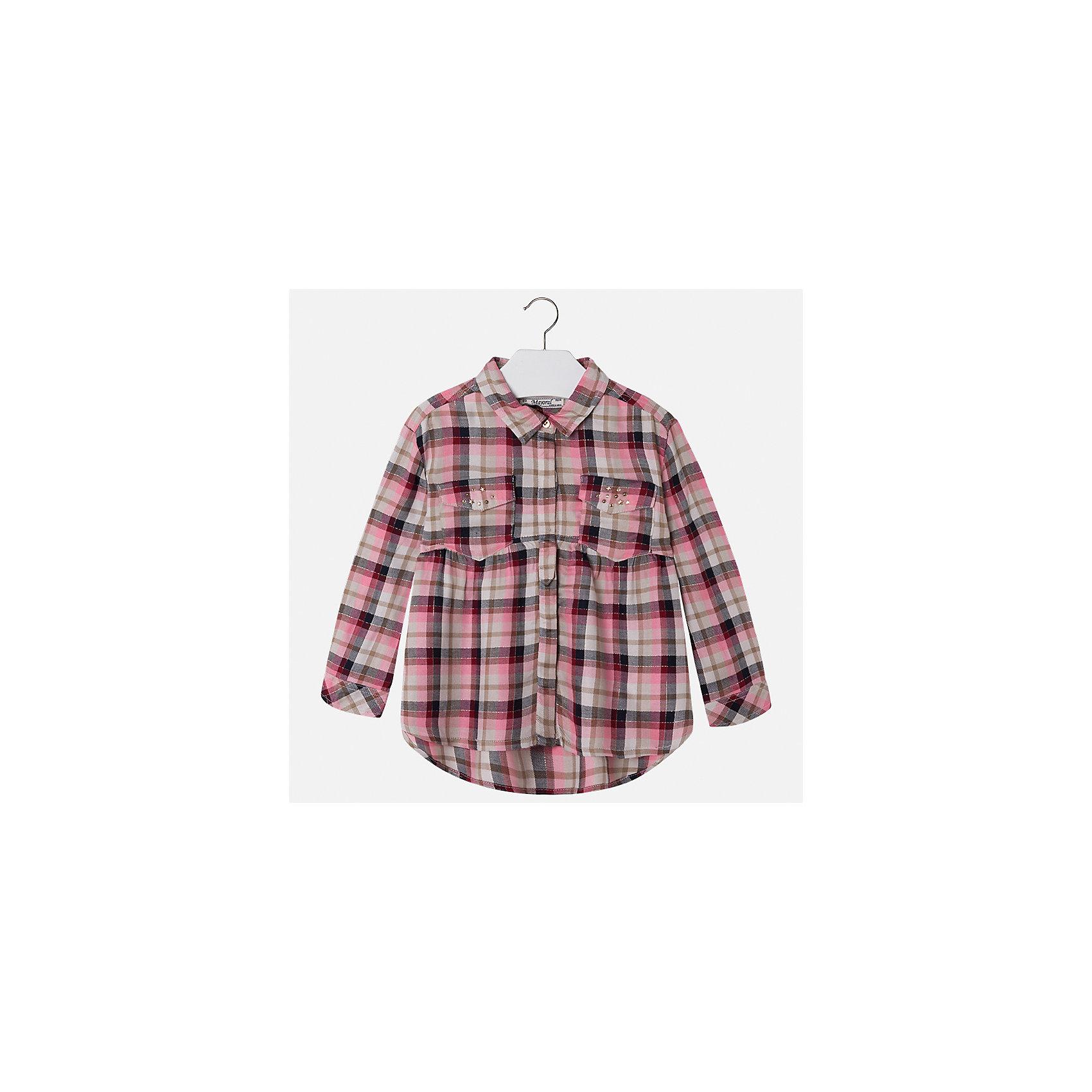 Рубашка Mayoral для девочкиБлузки и рубашки<br>Характеристики товара:<br><br>• цвет: красный<br>• состав ткани: 100% вискоза<br>• сезон: круглый год<br>• застежка: пуговицы<br>• стразы<br>• длинные рукава<br>• страна бренда: Испания<br>• страна изготовитель: Индия<br><br>Стильная блузка от Майорал - это пример отличного вкуса. Она сделана из легкого дышащего материала. Эта блузка для девочки обеспечит ребенку комфорт и модный внешний вид. <br><br>В одежде от испанской компании Майорал ребенок будет выглядеть модно, а чувствовать себя - комфортно. Целая команда европейских талантливых дизайнеров работает над созданием стильных и оригинальных моделей одежды.<br><br>Блузку для девочки Mayoral (Майорал) можно купить в нашем интернет-магазине.<br><br>Ширина мм: 186<br>Глубина мм: 87<br>Высота мм: 198<br>Вес г: 197<br>Цвет: красный<br>Возраст от месяцев: 96<br>Возраст до месяцев: 108<br>Пол: Женский<br>Возраст: Детский<br>Размер: 134,104,110,116,122,128<br>SKU: 6923992