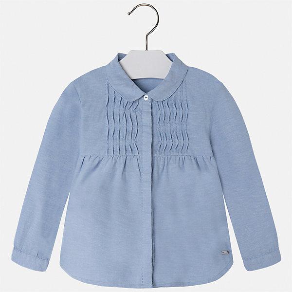 Рубашка Mayoral для девочкиБлузки и рубашки<br>Характеристики товара:<br><br>• цвет: голубой<br>• состав ткани: 100% хлопок<br>• сезон: круглый год<br>• застежка: пуговицы<br>• длинные рукава<br>• страна бренда: Испания<br>• страна изготовитель: Индия<br><br>Хлопковая блузка от Майорал - это пример отличного вкуса. Она сделана из легкого дышащего материала. Эта блузка для девочки обеспечит ребенку комфорт и модный внешний вид. <br><br>В одежде от испанской компании Майорал ребенок будет выглядеть модно, а чувствовать себя - комфортно. Целая команда европейских талантливых дизайнеров работает над созданием стильных и оригинальных моделей одежды.<br><br>Блузку для девочки Mayoral (Майорал) можно купить в нашем интернет-магазине.<br><br>Ширина мм: 186<br>Глубина мм: 87<br>Высота мм: 198<br>Вес г: 197<br>Цвет: голубой<br>Возраст от месяцев: 96<br>Возраст до месяцев: 108<br>Пол: Женский<br>Возраст: Детский<br>Размер: 134,104,128,122,116,110<br>SKU: 6924014