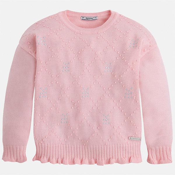 Свитер для девочки MayoralСвитера и кардиганы<br>Характеристики товара:<br><br>• цвет: розовый<br>• состав ткани: 45% акрил, 45% полиамид, 10% ангора<br>• сезон: круглый год<br>• стразы<br>• длинные рукава<br>• страна бренда: Испания<br>• страна изготовитель: Индия<br><br>Стильный свитер Mayoral со стразами может стать одной из любимых вещей современной девочки. Красивая и удобная вещь для девочки сделана из теплого качественного материала. <br><br>Детская одежда от испанской компании Mayoral отличаются оригинальным и всегда стильным дизайном. Качество продукции неизменно очень высокое.<br><br>Свитер для девочки Mayoral (Майорал) можно купить в нашем интернет-магазине.<br><br>Ширина мм: 190<br>Глубина мм: 74<br>Высота мм: 229<br>Вес г: 236<br>Цвет: розовый<br>Возраст от месяцев: 96<br>Возраст до месяцев: 108<br>Пол: Женский<br>Возраст: Детский<br>Размер: 134,128,122,116,110,104,98<br>SKU: 6924029