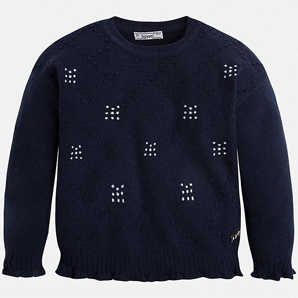Свитер для девочки MayoralСвитера и кардиганы<br>Характеристики товара:<br><br>• цвет: черный<br>• состав ткани: 45% акрил, 45% полиамид, 10% ангора<br>• сезон: круглый год<br>• стразы<br>• длинные рукава<br>• страна бренда: Испания<br>• страна изготовитель: Индия<br><br>Этот вязаный черный свитер от Майорал - пример отличного вкуса. Он сделан из приятной на ощупь пряжи. Такой свитер для девочки обеспечит ребенку комфорт и модный внешний вид. <br><br>В одежде от испанской компании Майорал ребенок будет выглядеть модно, а чувствовать себя - комфортно. Целая команда европейских талантливых дизайнеров работает над созданием стильных и оригинальных моделей одежды.<br><br>Свитер для девочки Mayoral (Майорал) можно купить в нашем интернет-магазине.<br>Ширина мм: 190; Глубина мм: 74; Высота мм: 229; Вес г: 236; Цвет: темно-синий; Возраст от месяцев: 24; Возраст до месяцев: 36; Пол: Женский; Возраст: Детский; Размер: 98,134,128,122,116,110,104; SKU: 6924037;